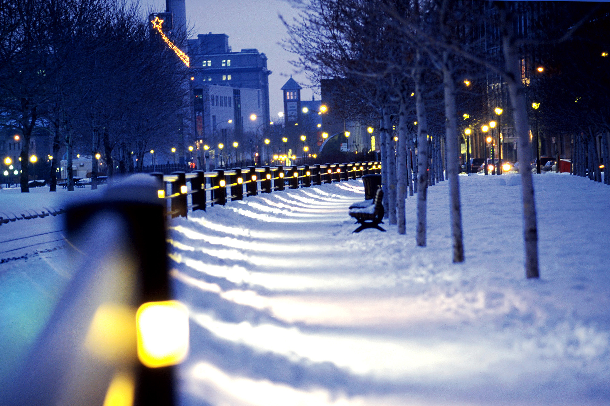 General Montreal snow lights winter city Canada night lantern  bench