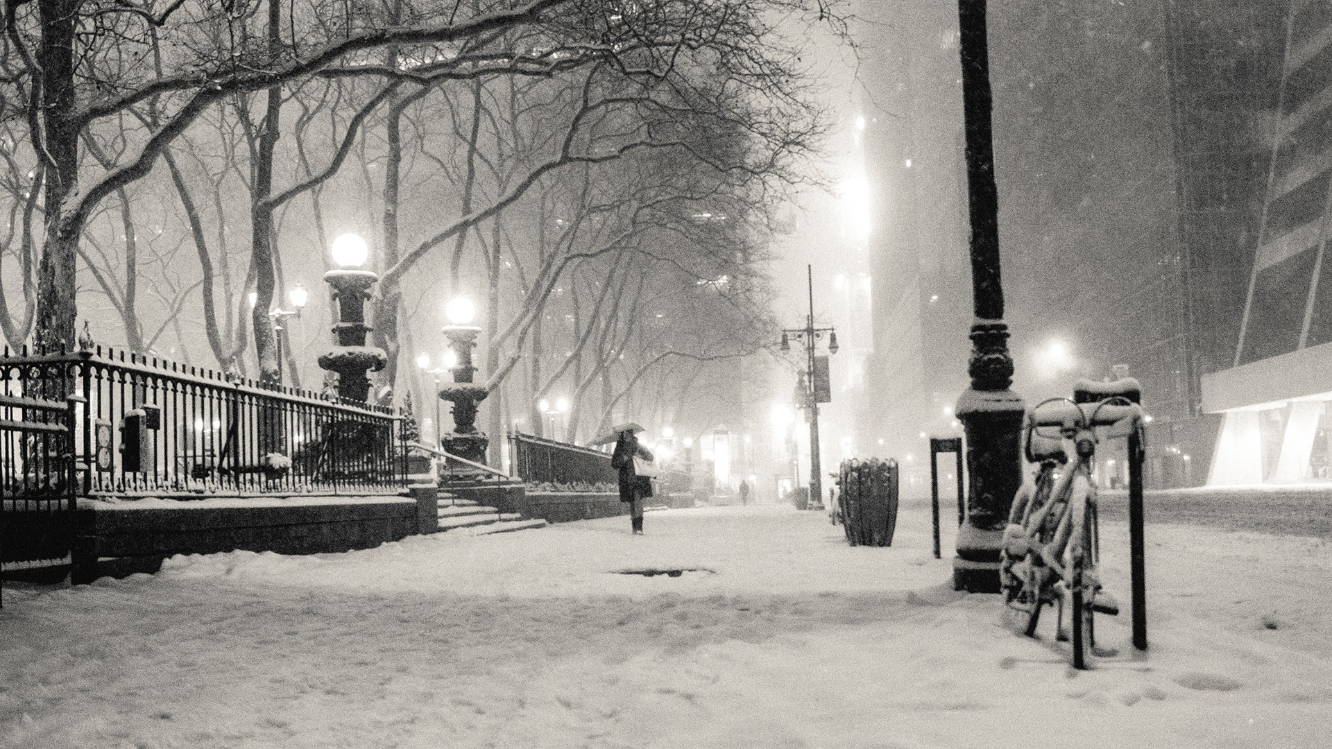 Wallpapers :: black and white, winter, snow, New York City, monochrome