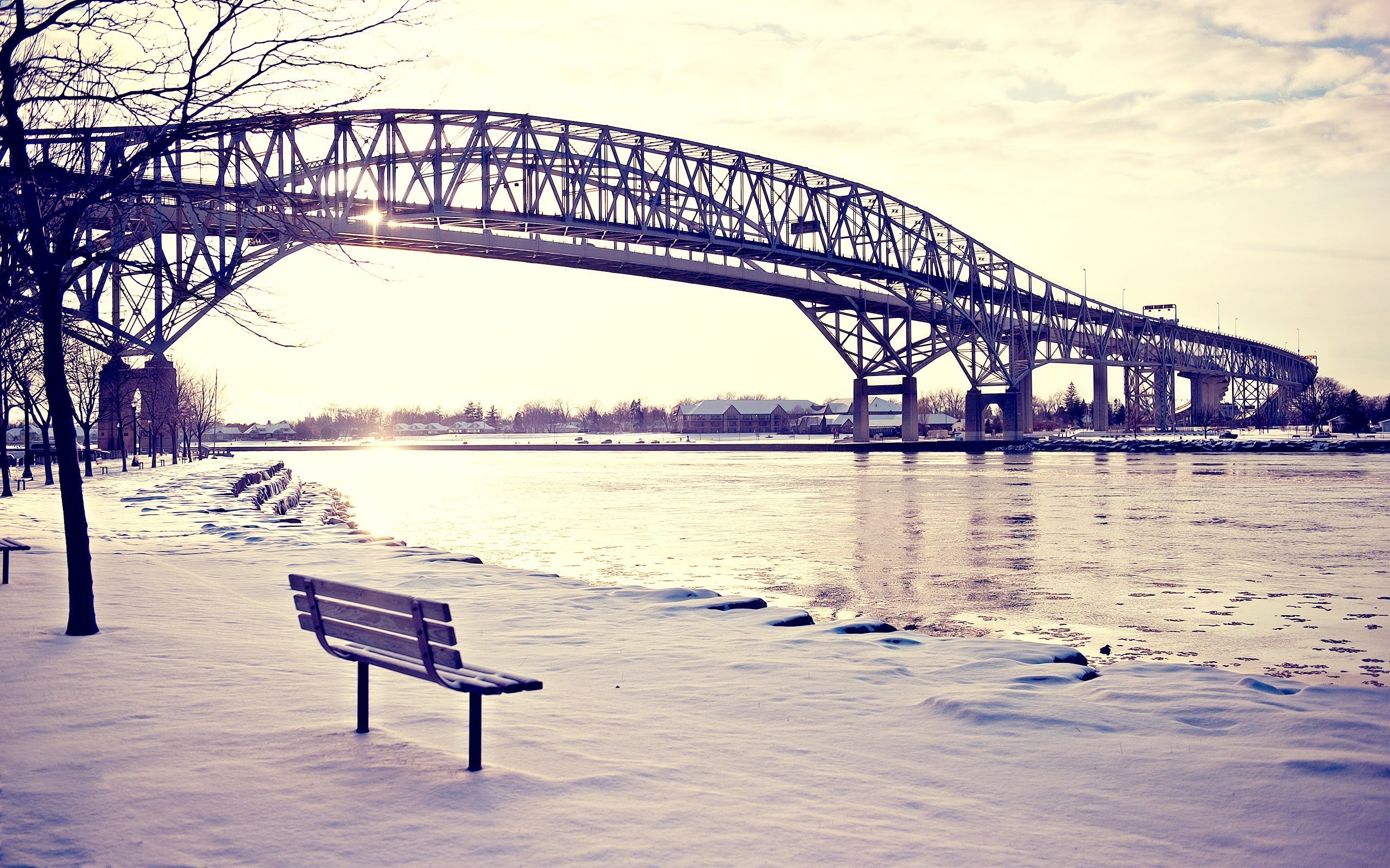 bridge, Bench, Snow, Lake Wallpapers HD / Desktop and Mobile Backgrounds