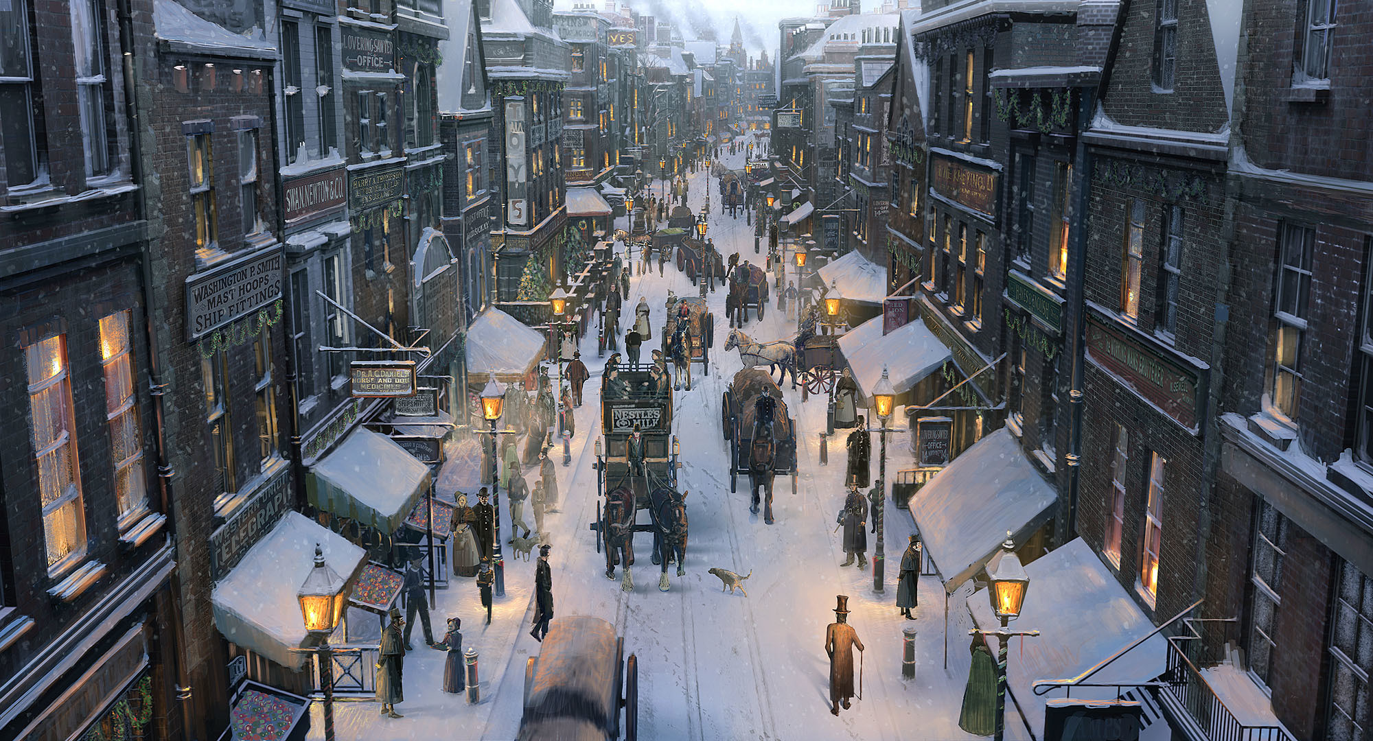 Art city snow winter street carts horses people christmas wallpaper |  | 162654 | WallpaperUP