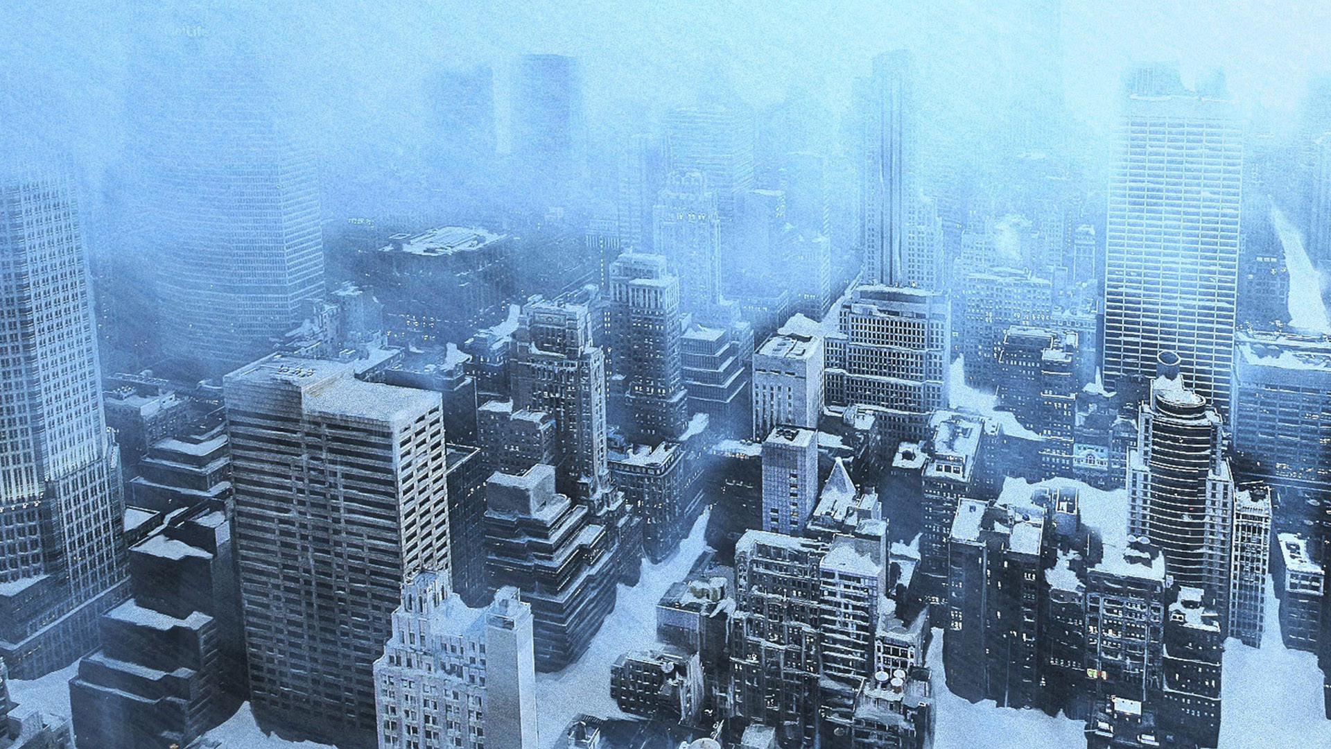 apocalyptic winter snow ice dark sci-fi city wallpaper background .