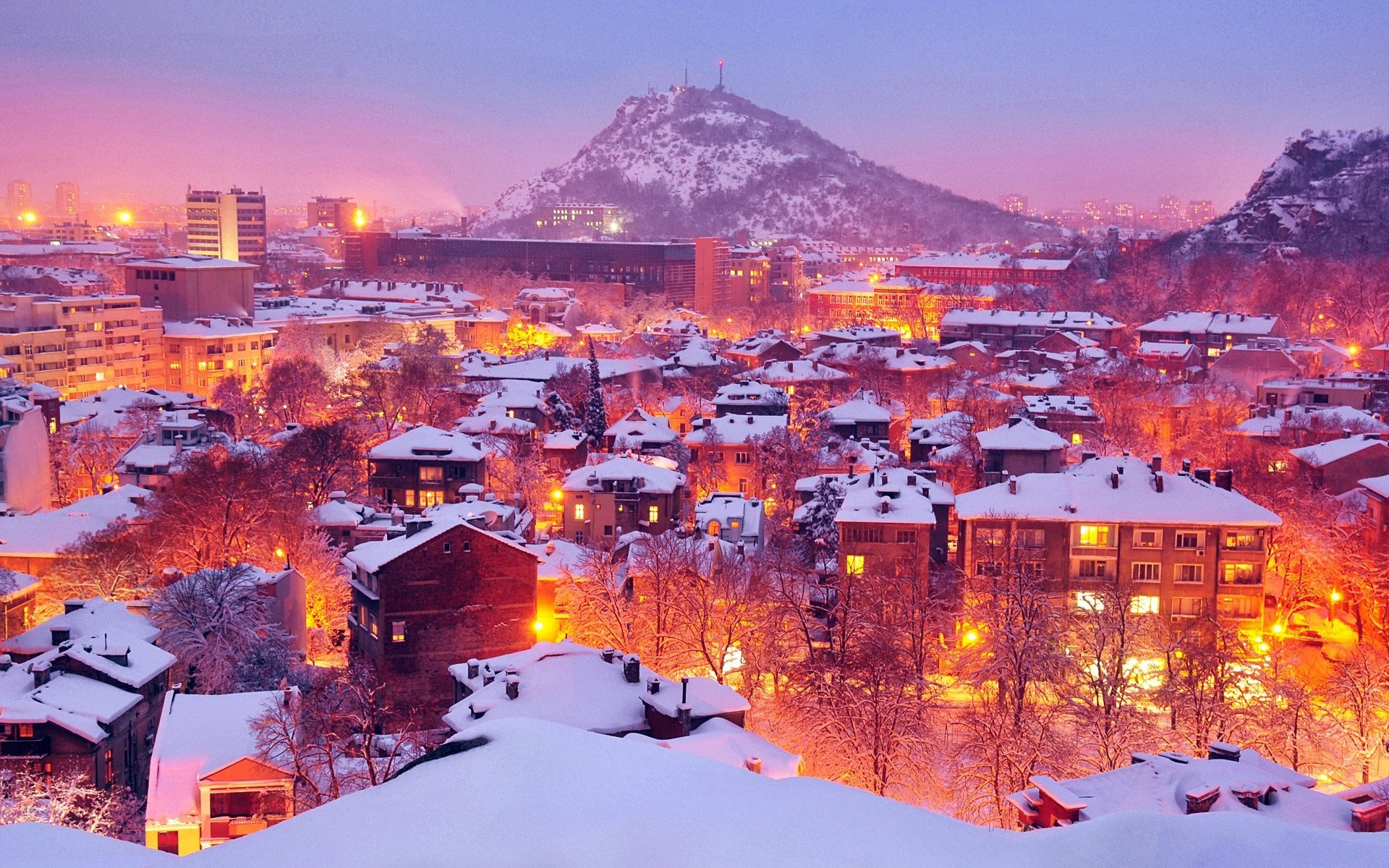 plovdiv bulgaria city lights winter plovdiv bulgaria town winter lights  light snow mountain house tree