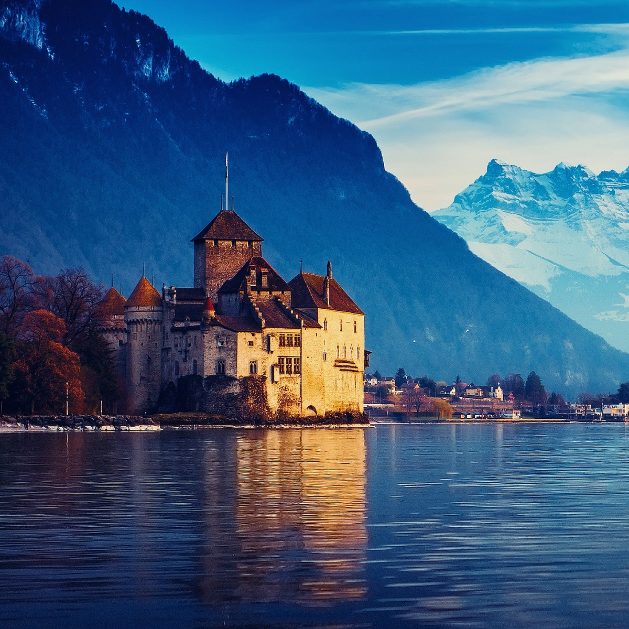 Wallpaper switzerland, lake geneva, city, mountains, snow