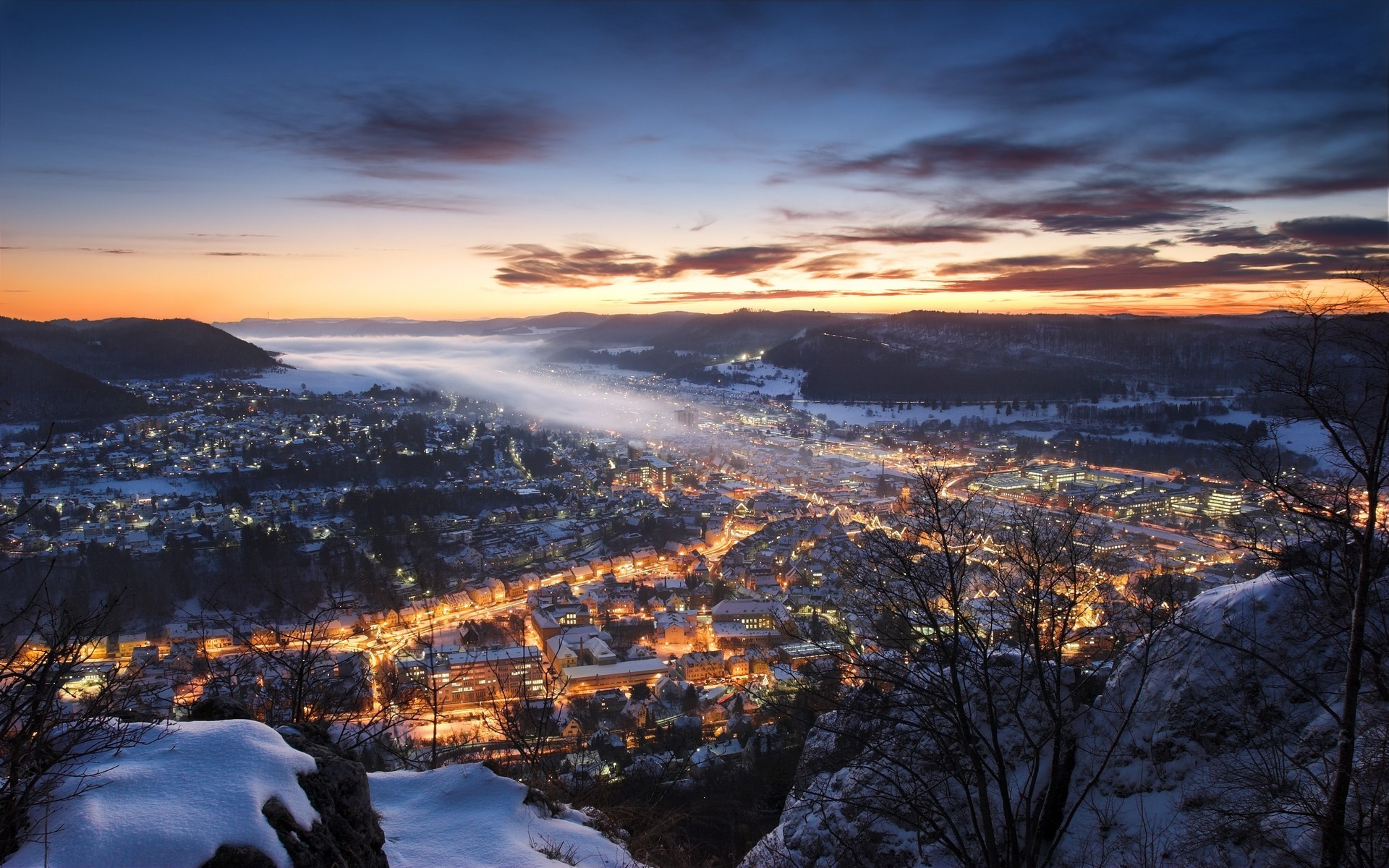 nature, Landscape, Mist, Cityscape, Sunset, Winter, Hill, Germany, Snow,  Clouds, Europe, Lights, City Wallpapers HD / Desktop and Mobile Backgrounds