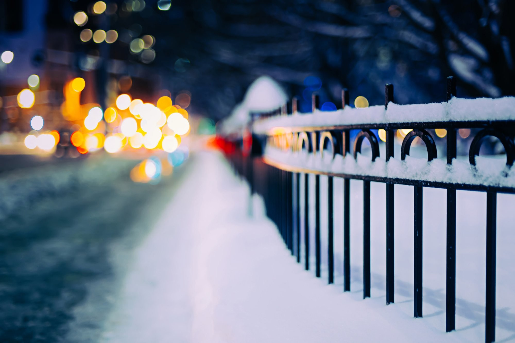 City bokeh winter snow beauty wallpaper | | 802035 | WallpaperUP