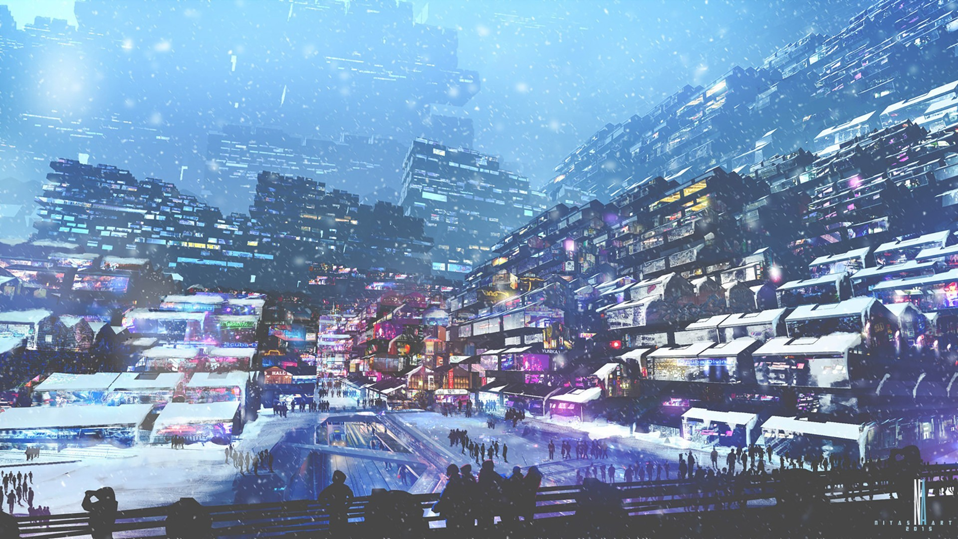 artwork, Digital Art, City, Futuristic, Cyberpunk, Snow, Lights, People,  Winter Wallpapers HD / Desktop and Mobile Backgrounds