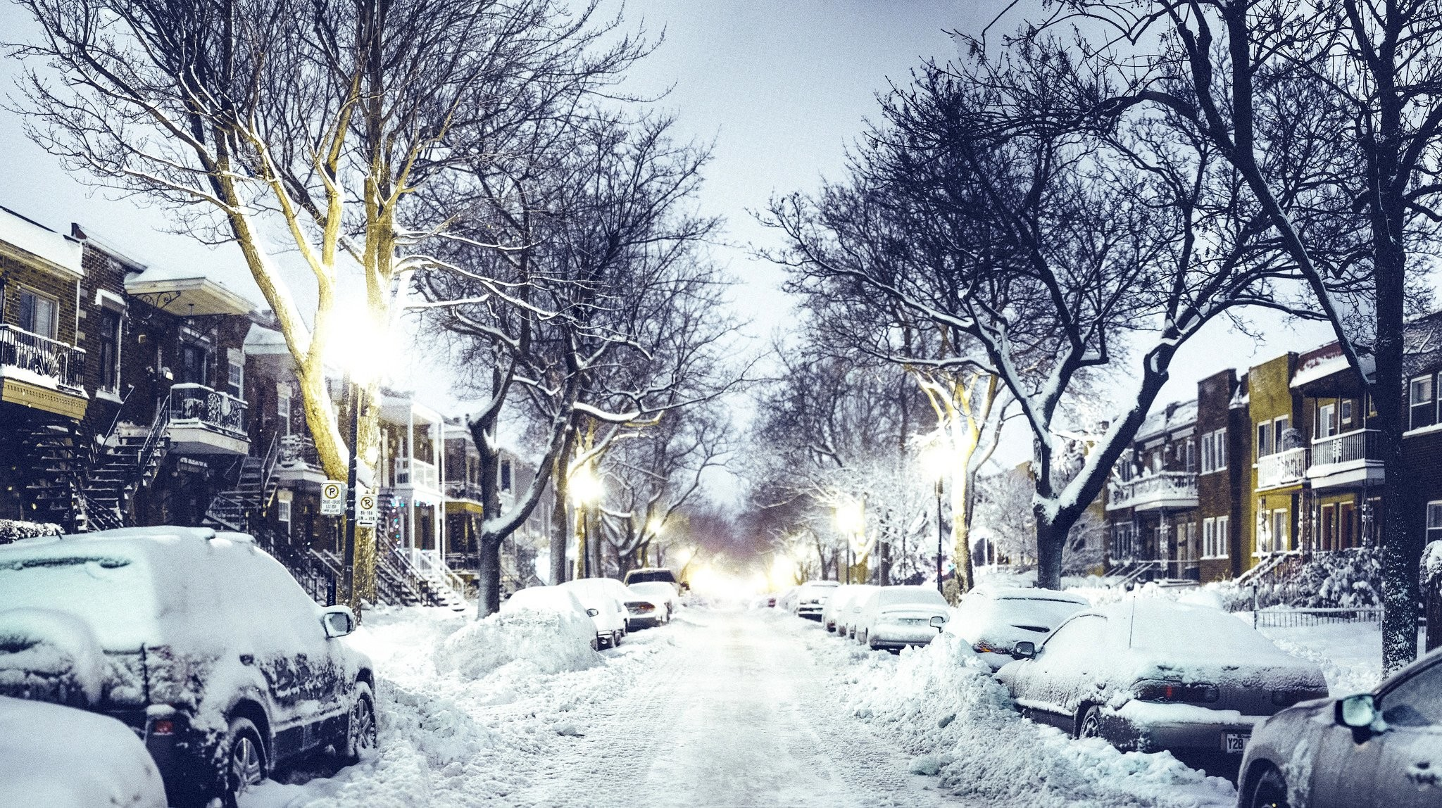 Street night road cars houses lights snow winter city wallpaper |  | 599307 | WallpaperUP