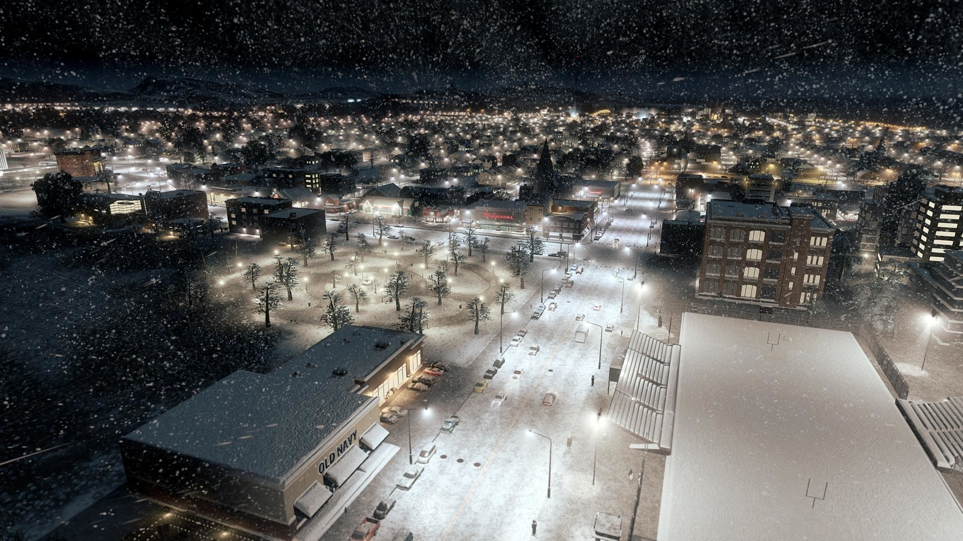 Snow Falling on City Wallpaper