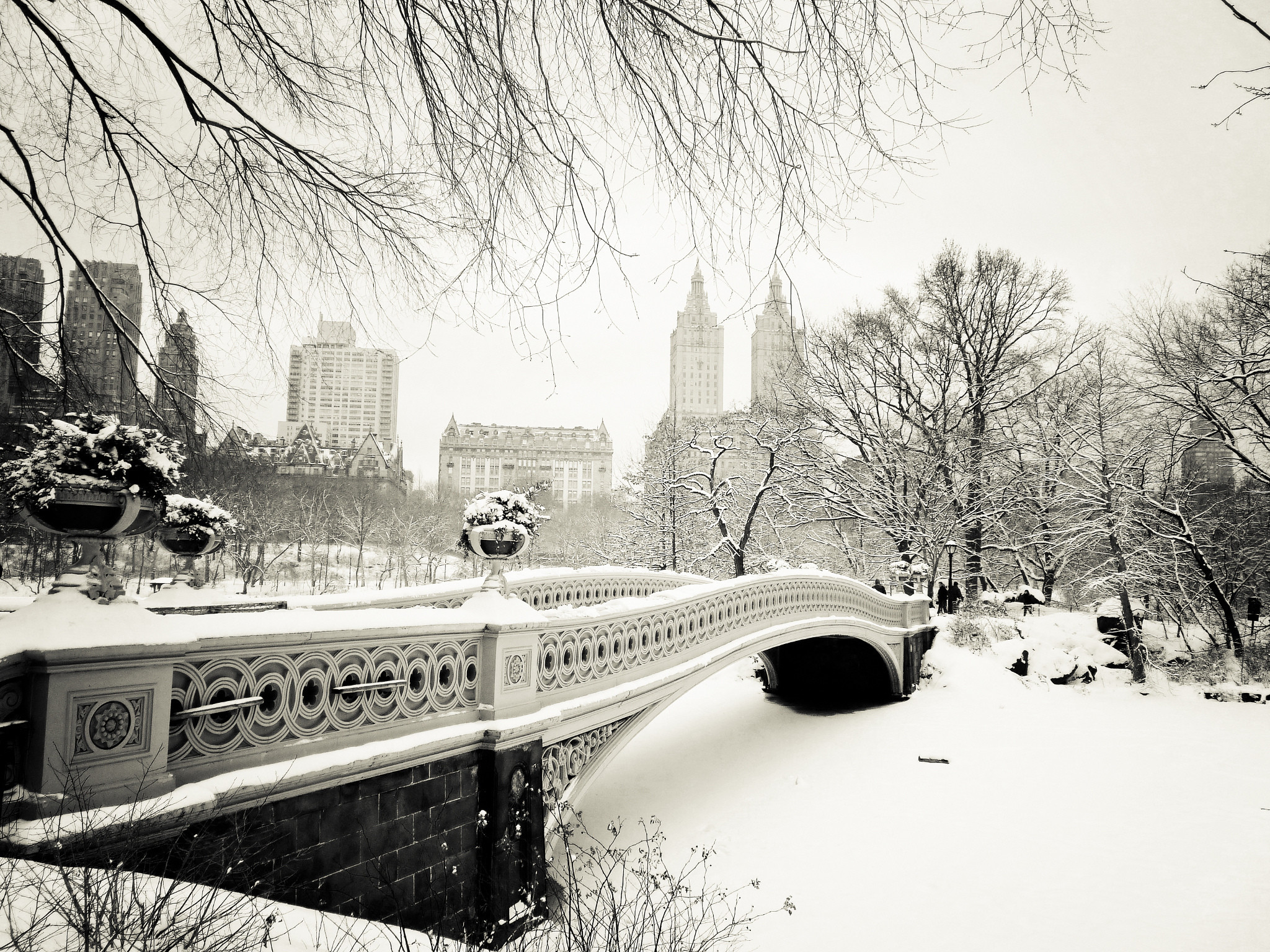 Pictures New York City USA Winter Bridges Snow Cities 2048×1536