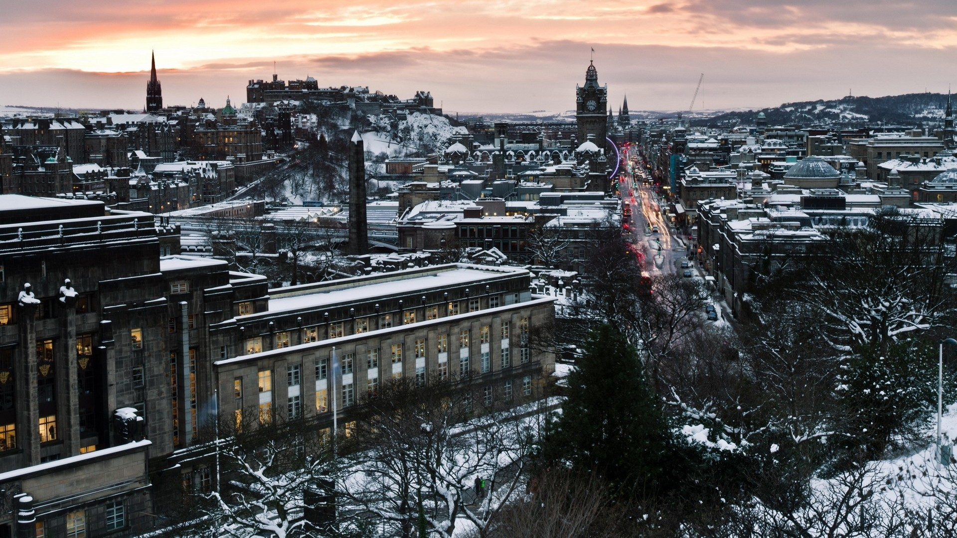 Wallpaper edinburgh, scotland, winter, snow, city