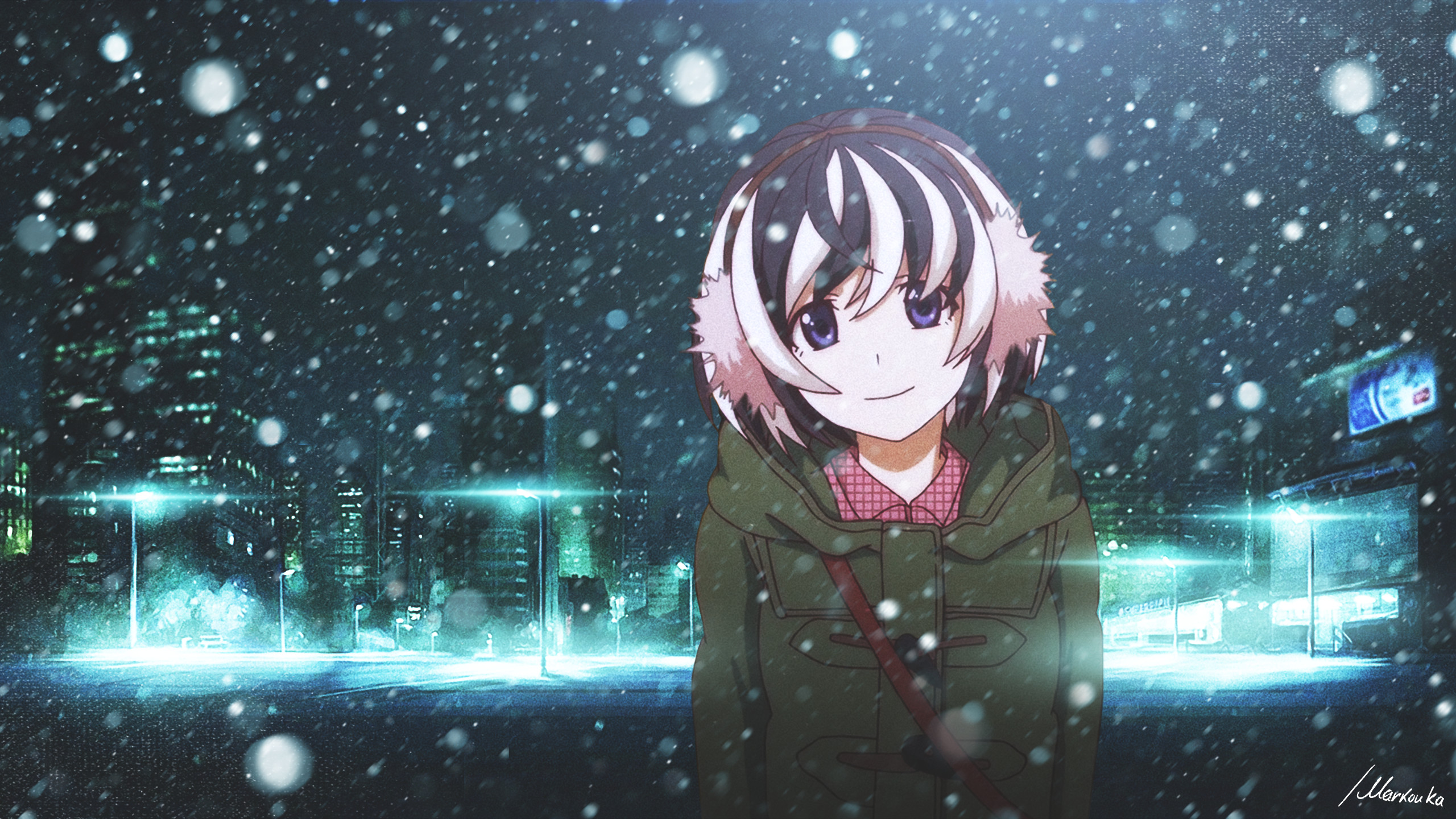 Anime Monogatari Series Hanekawa Tsubasa winter night city snow  anime