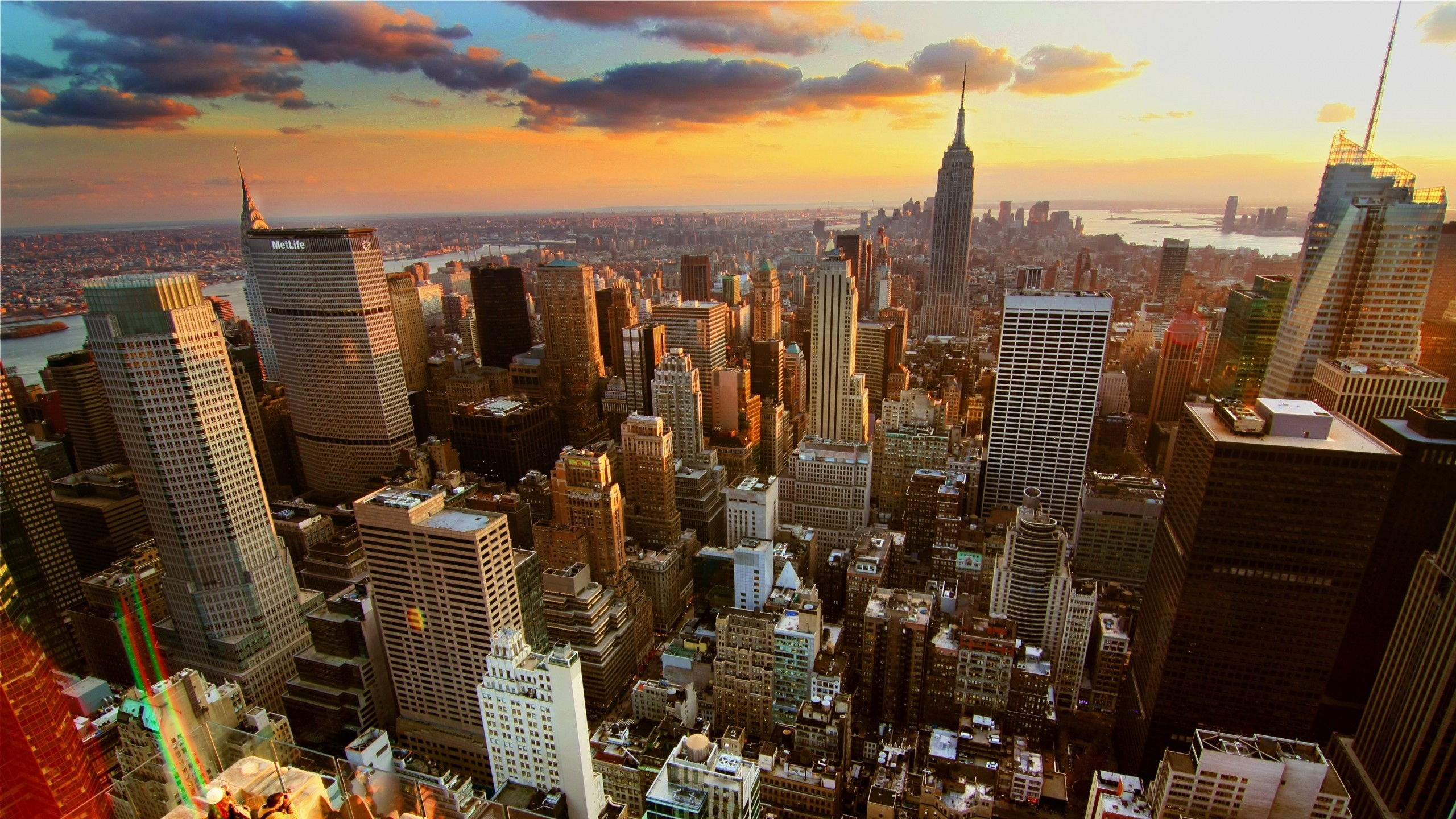 Preview wallpaper new york, home, skyscrapers, rooftops, sunset 2560×1440