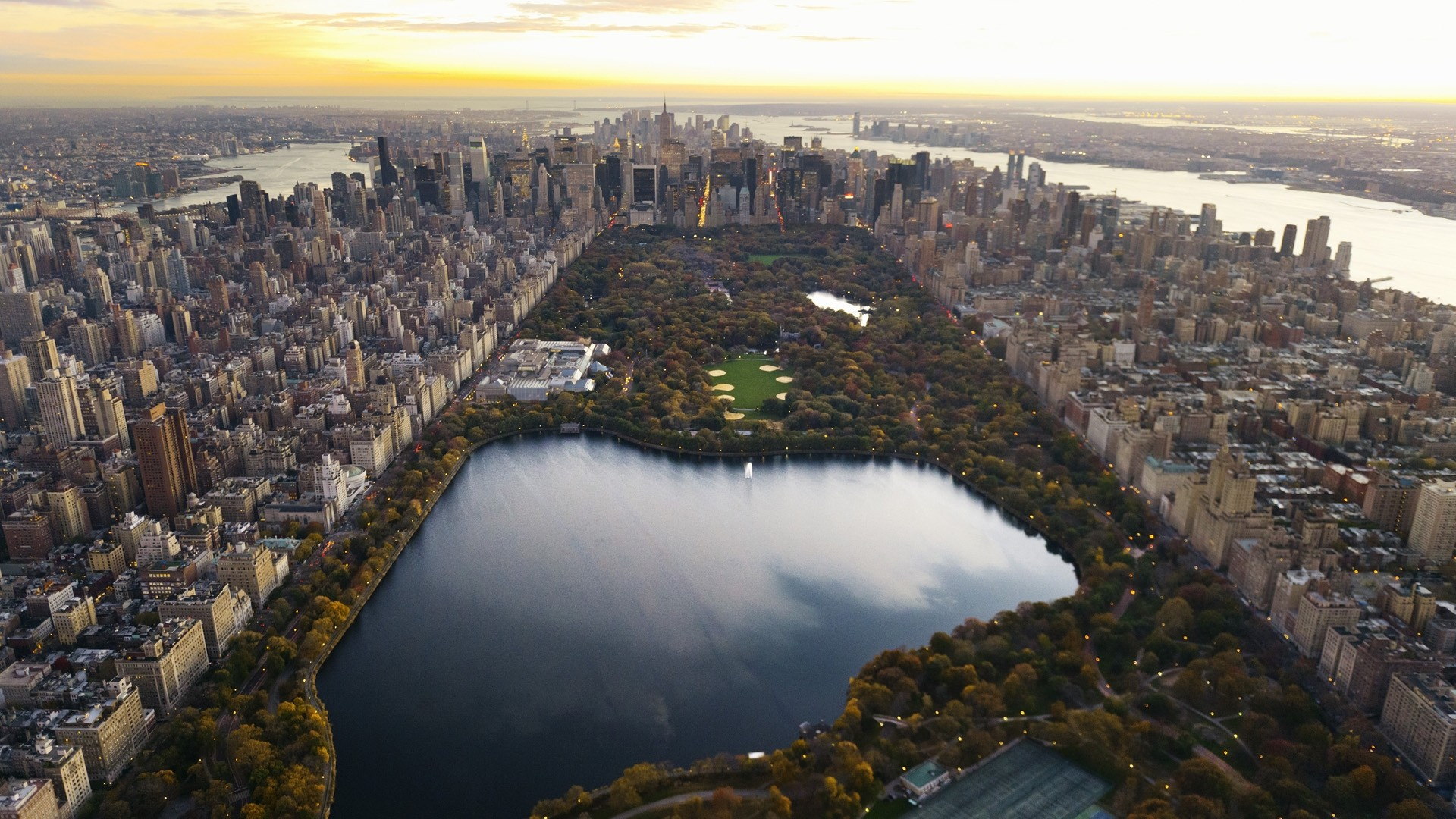 Preview wallpaper central park, panorama, night, new york, lake,  skyscrapers,