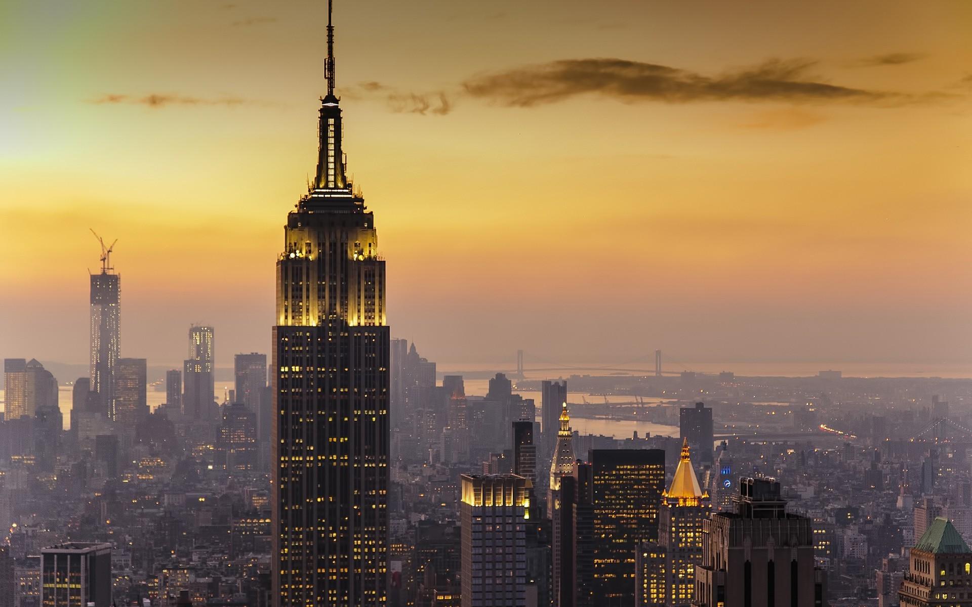… New York City, USA, Birds Eye View, Lights, Sunset, River, Cranes  (machine), Clouds, Bridge Wallpapers HD / Desktop and Mobile Backgrounds