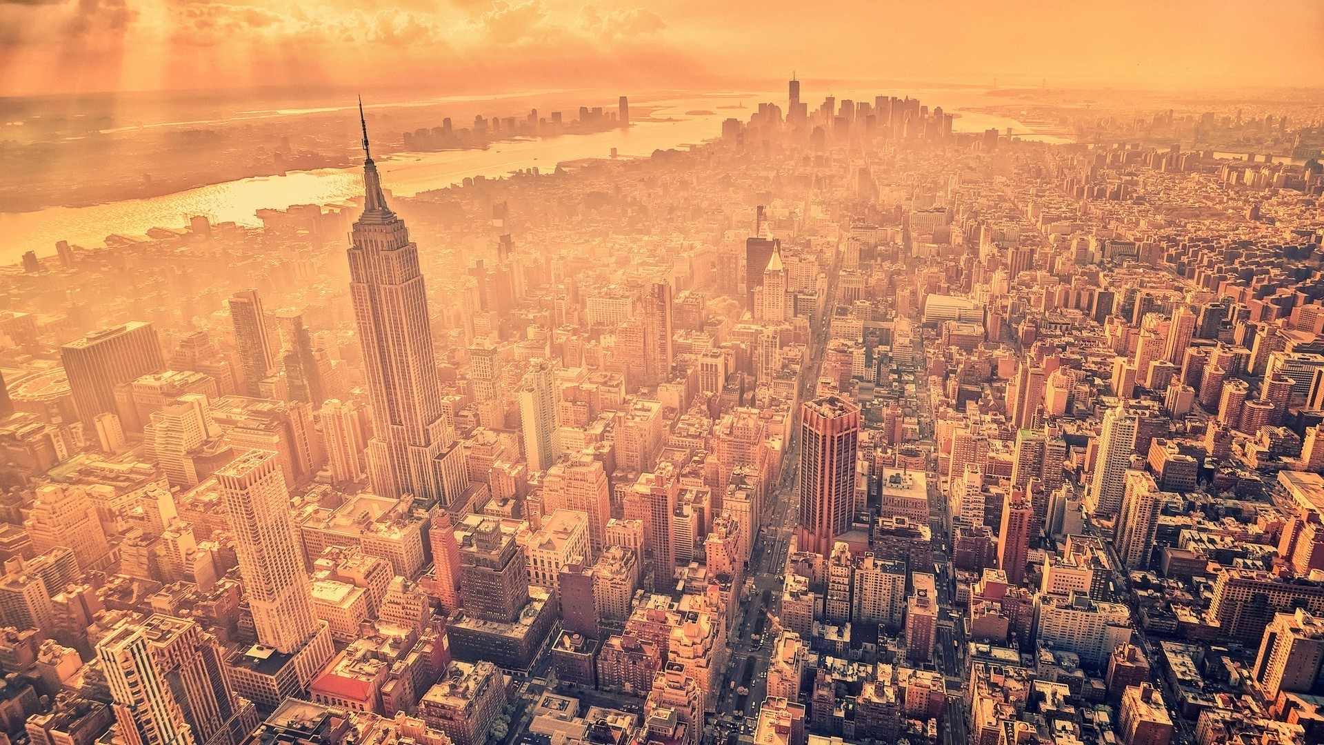 photography photo manipulation new york city cityscape empire state  building manhattan birds eye view usa Wallpapers HD / Desktop and Mobile  Backgrounds