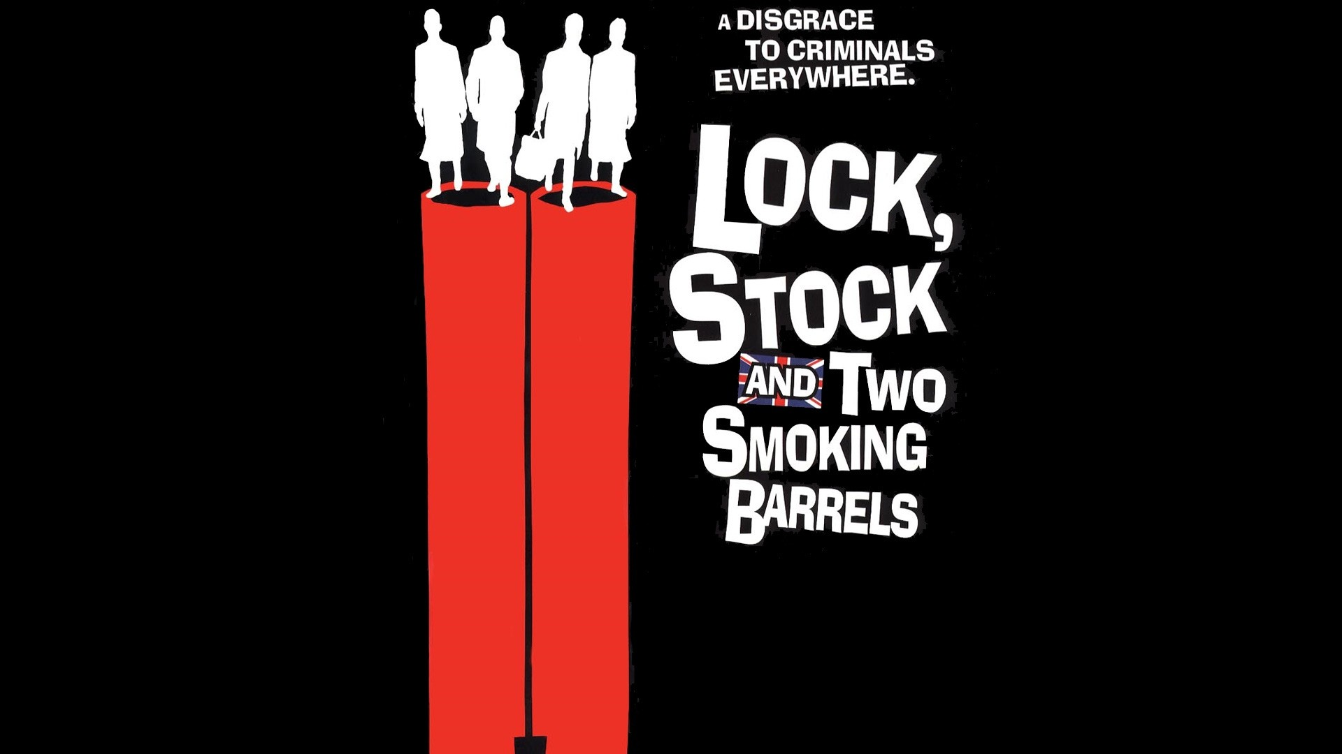 Wallpaper lock stock and two smoking barrels, gun, black, red
