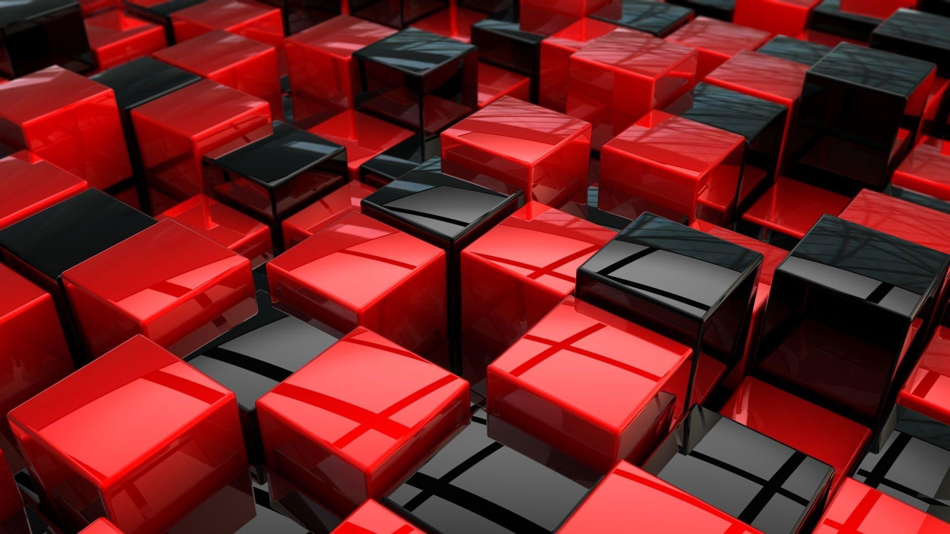 hd pics photos red and black 3d cubes desktop background wallpaper