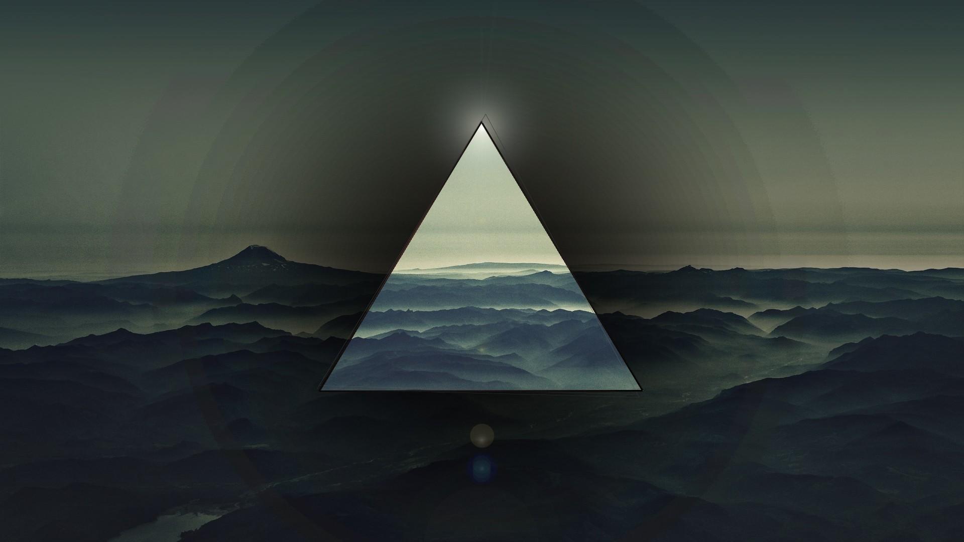 Wallpaper triangle, light, dark