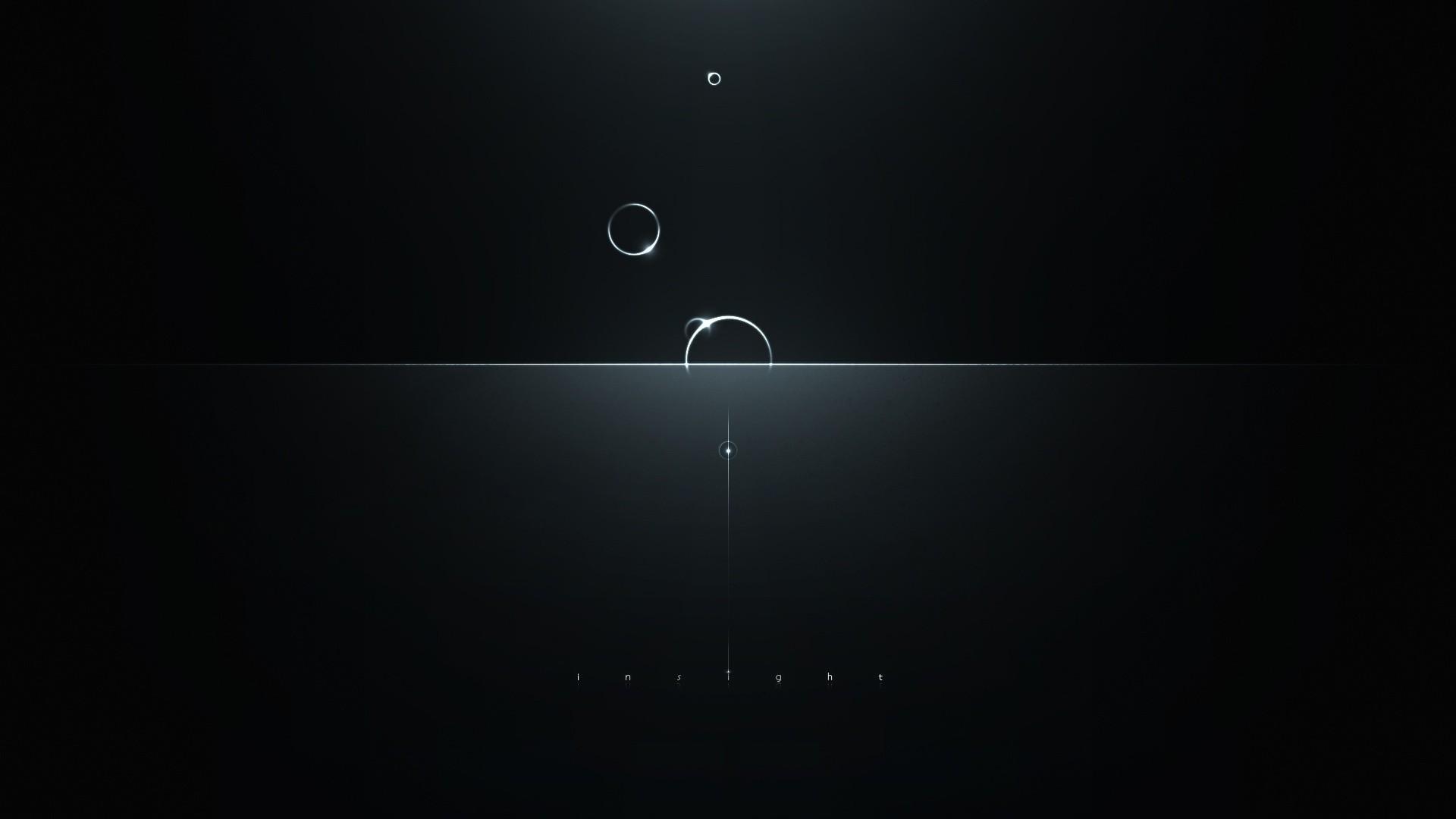 Wallpaper minimalism, circles, reflections, light, dark, intuition