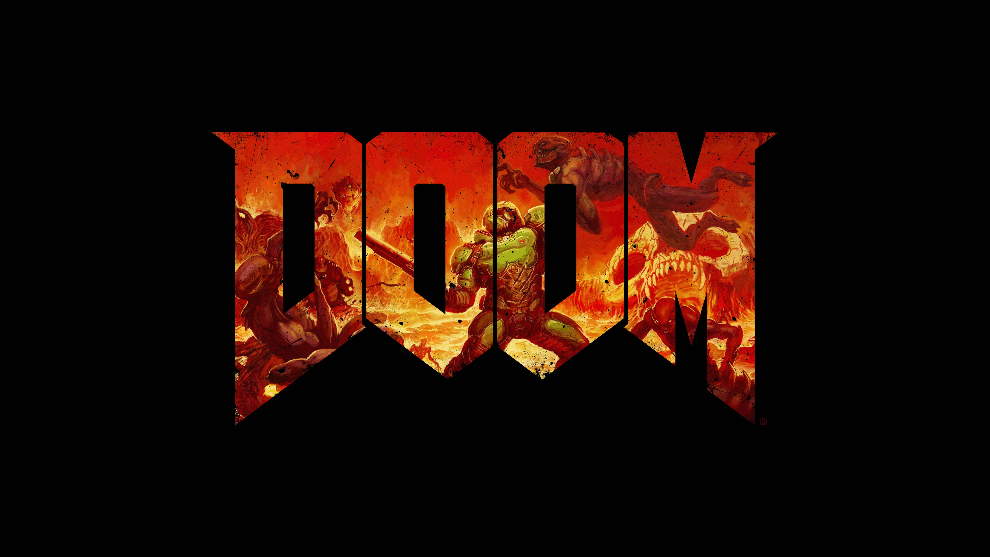 4k doom wallpapers white and black