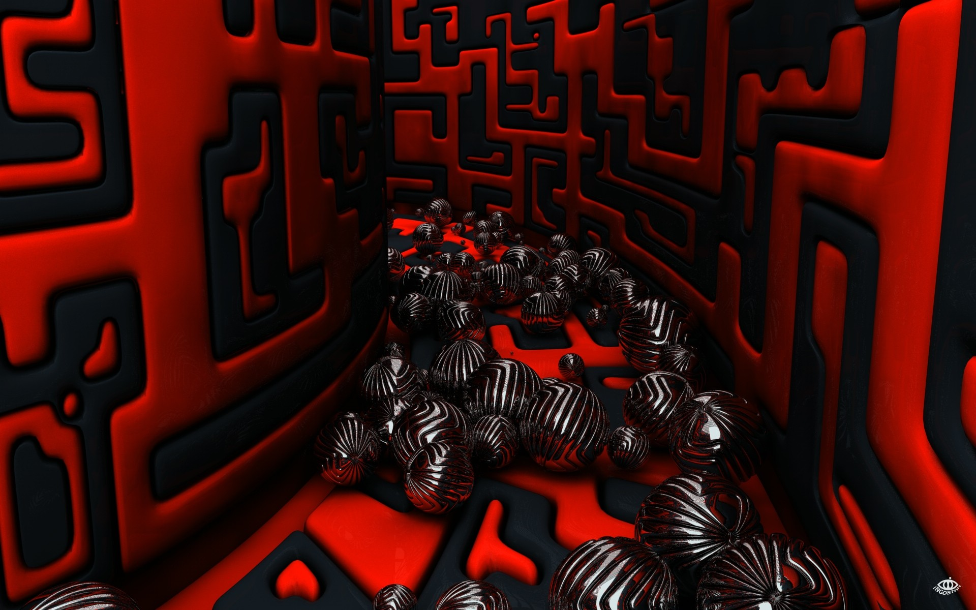 Wallpaper 3D, Cubes, Black, Red, Abstract, #639