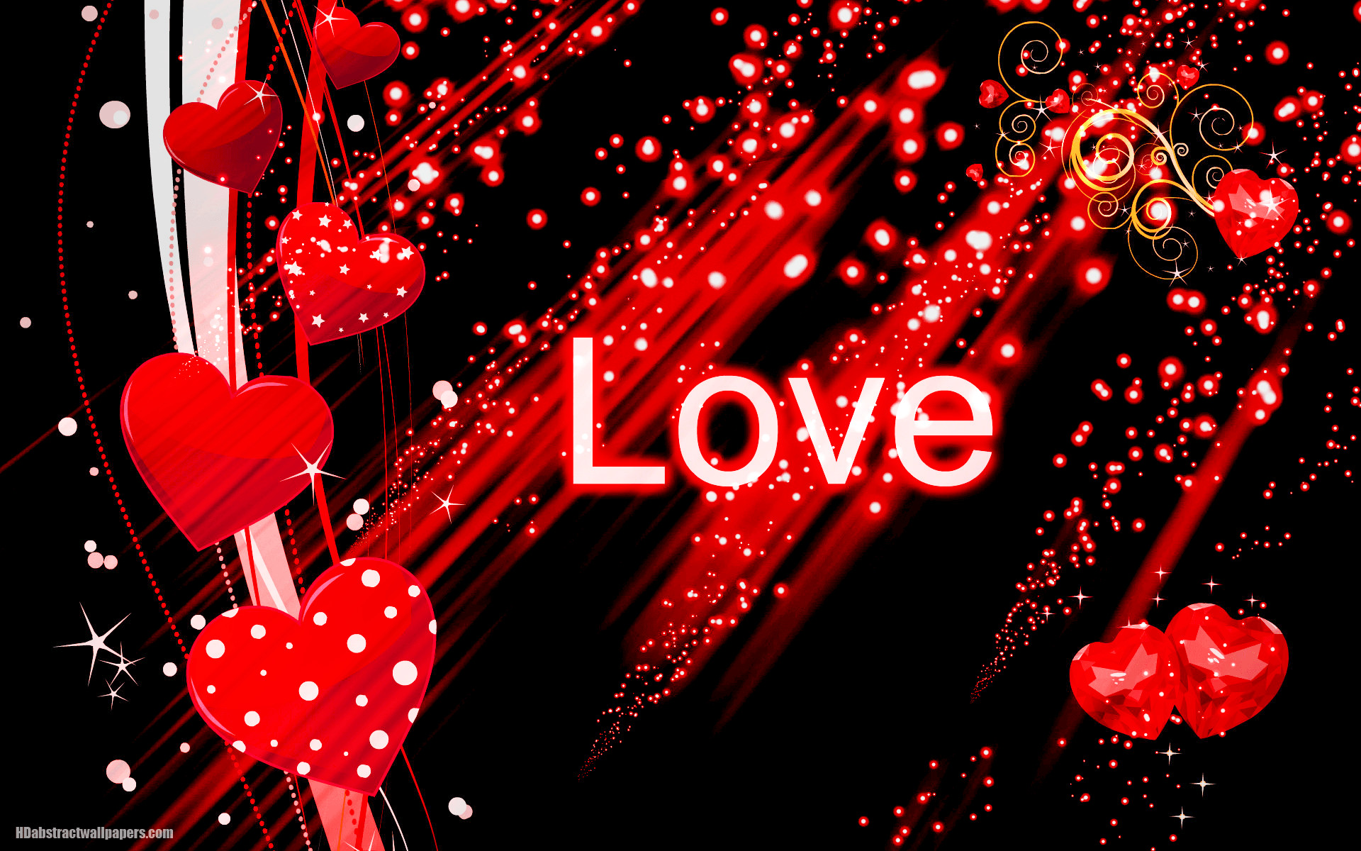 Black abstract wallpaper with red love hearts
