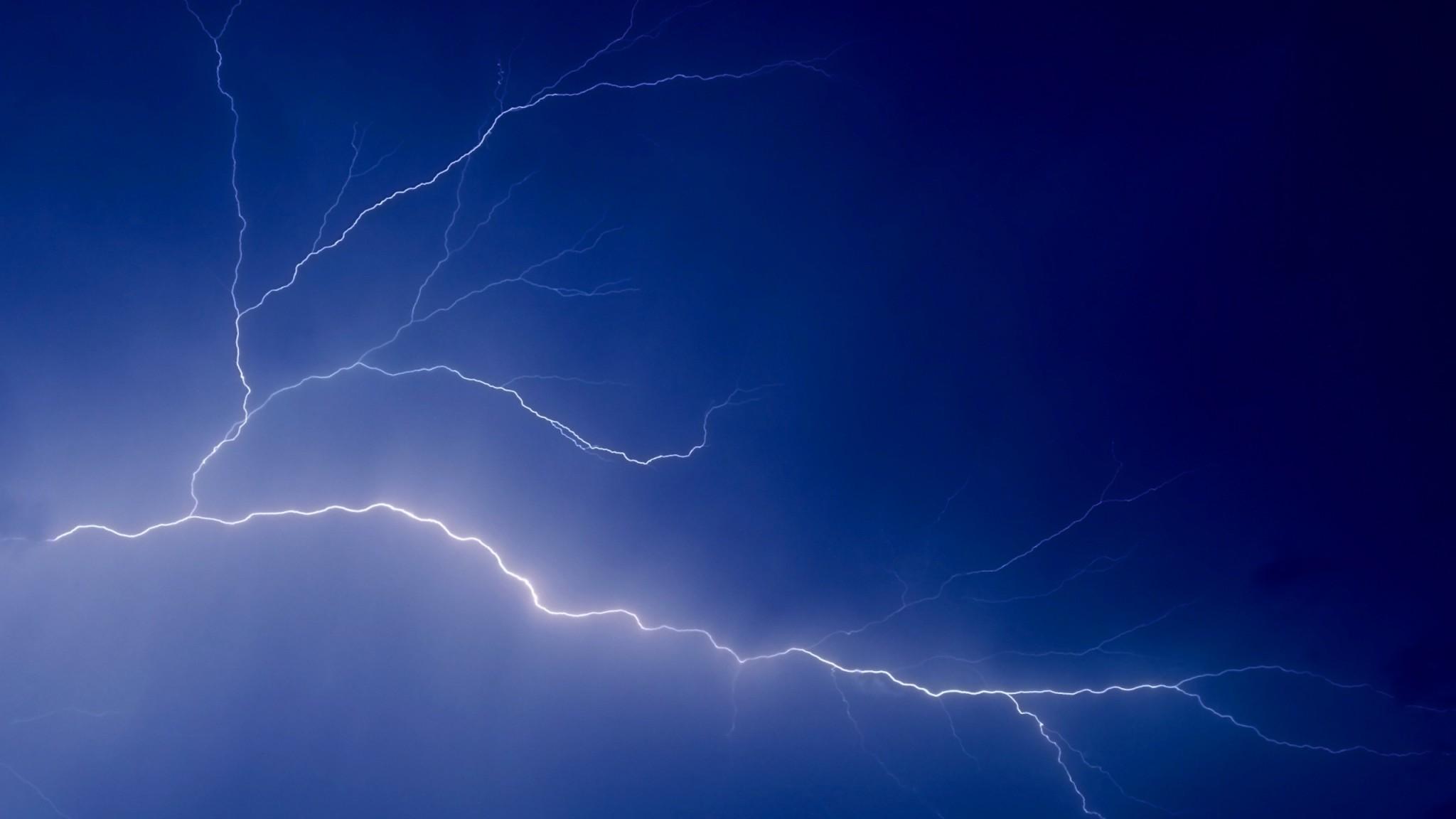 Wallpaper sky, lightning, peal, lines, dark blue, electricity