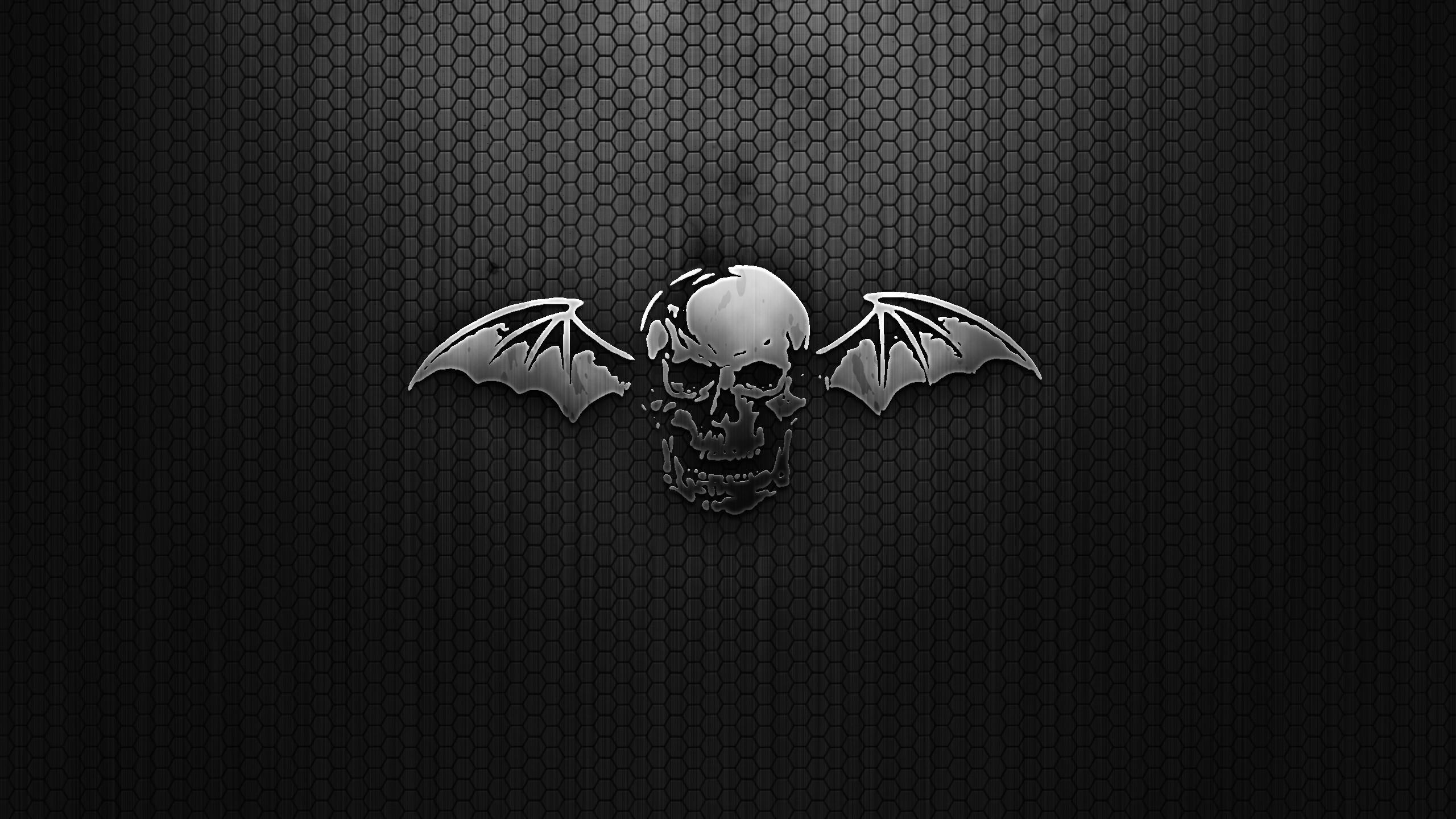 Preview wallpaper black, skull, wings, mesh 2560×1440