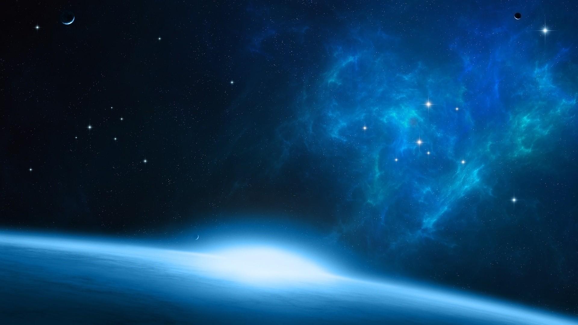 Nebula, black, blue, nebula, space