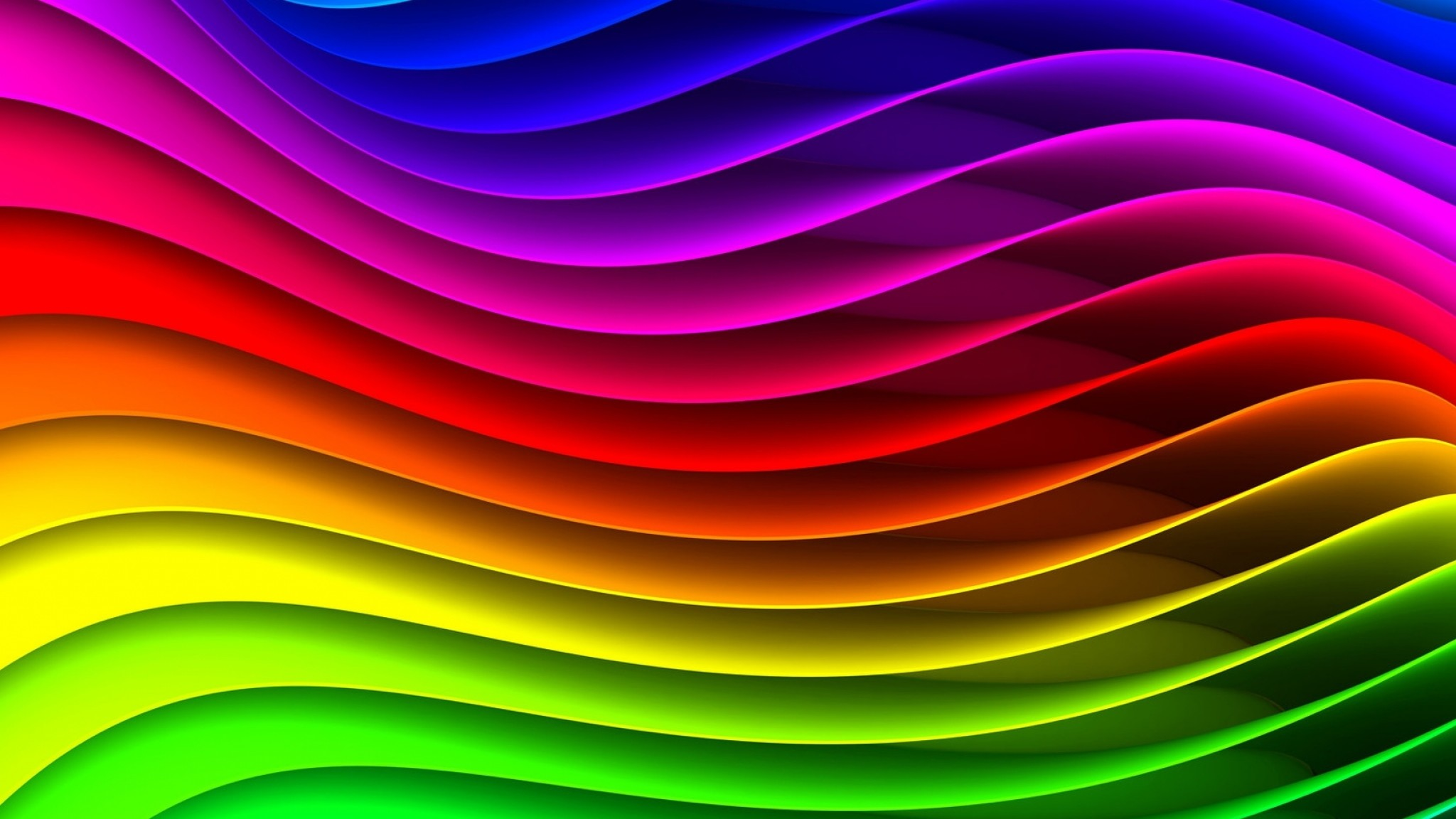 Preview wallpaper spectrum, rainbow, background, surface, stripes, texture,  waves 2048×1152