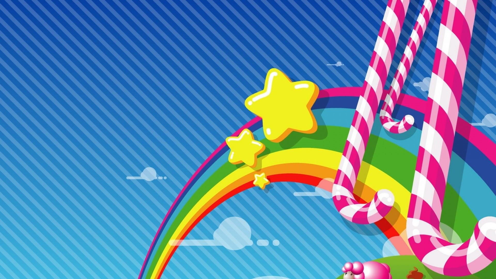 Wallpaper rainbow, candy, stars, sky