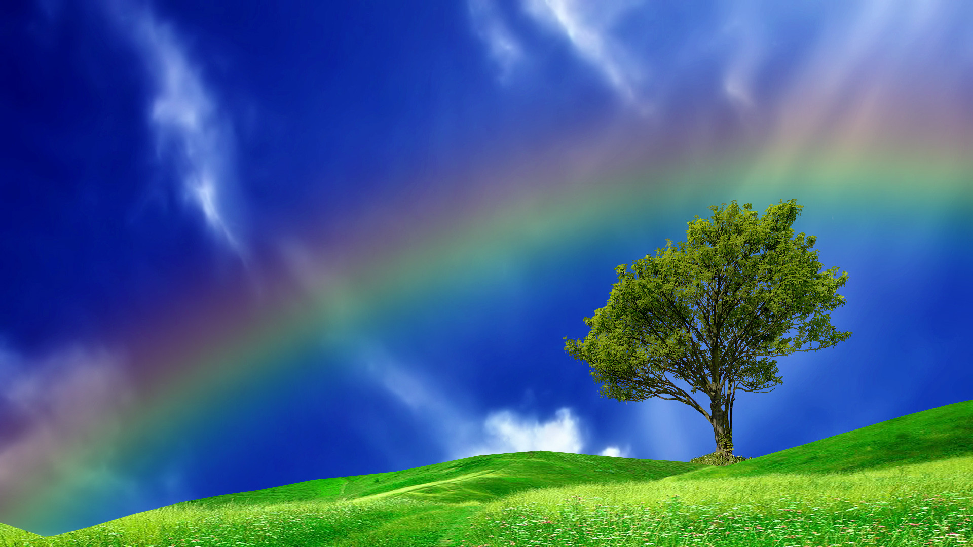 Magnificent Rainbow In A Blue Sky Hd Desktop Background HD wallpapers