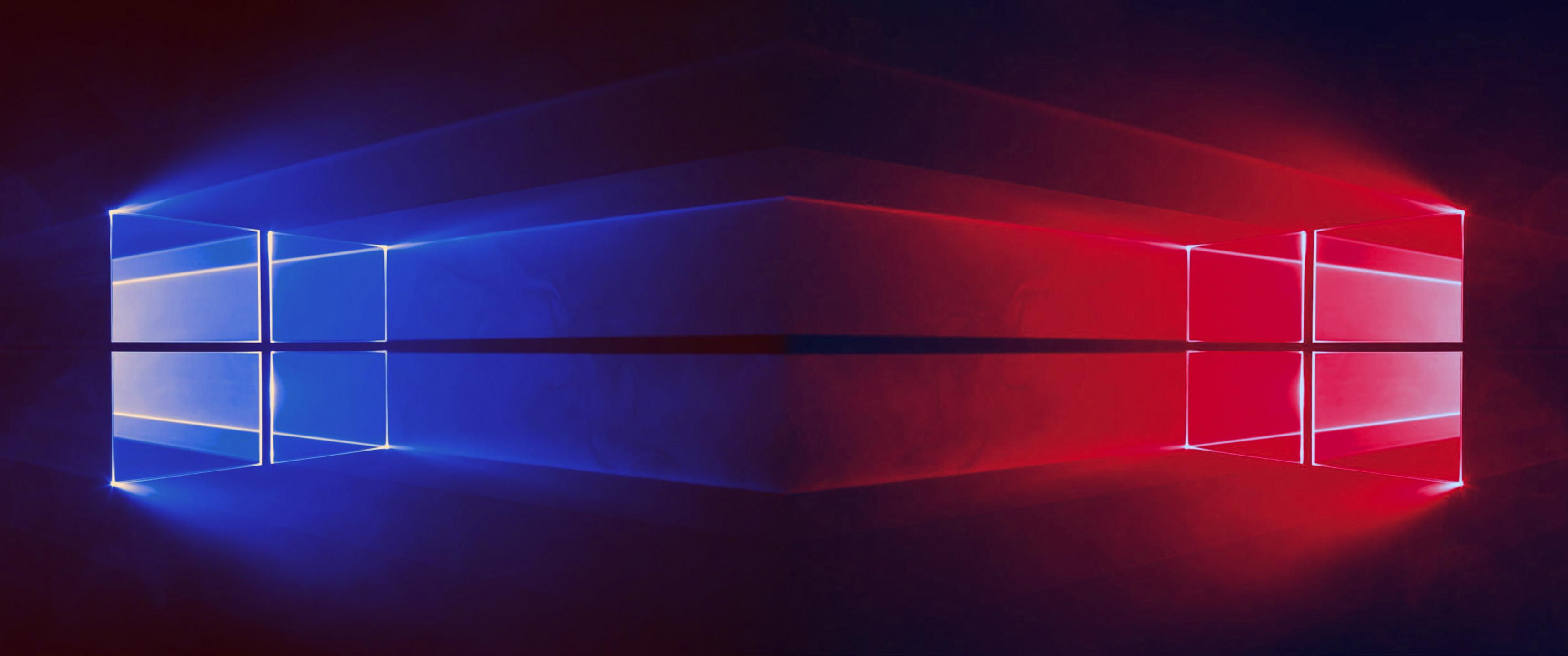 Windows 10 – 2 Windows Blue & Red – 3440×1440