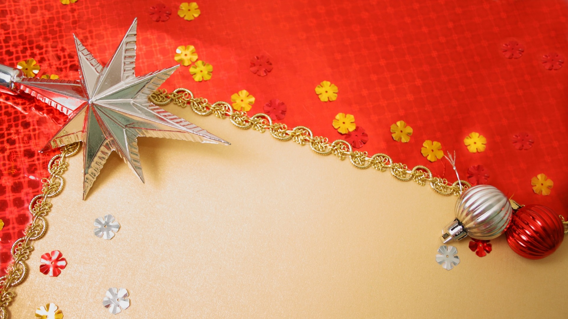 Preview wallpaper gold, red background, new year, toys 1920×1080