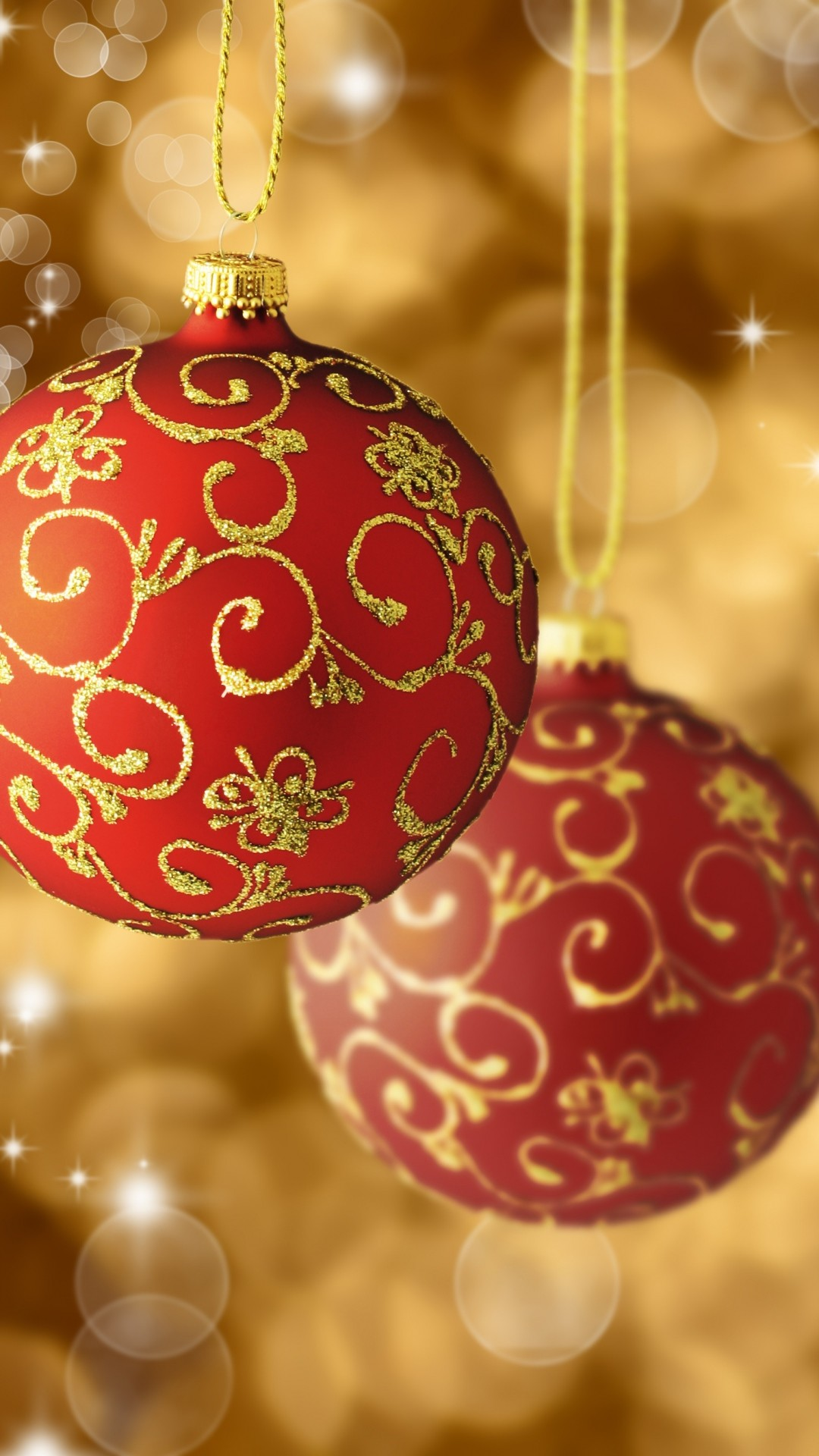 Red Gold Christmas Balls Tree Decorations Android Wallpaper …