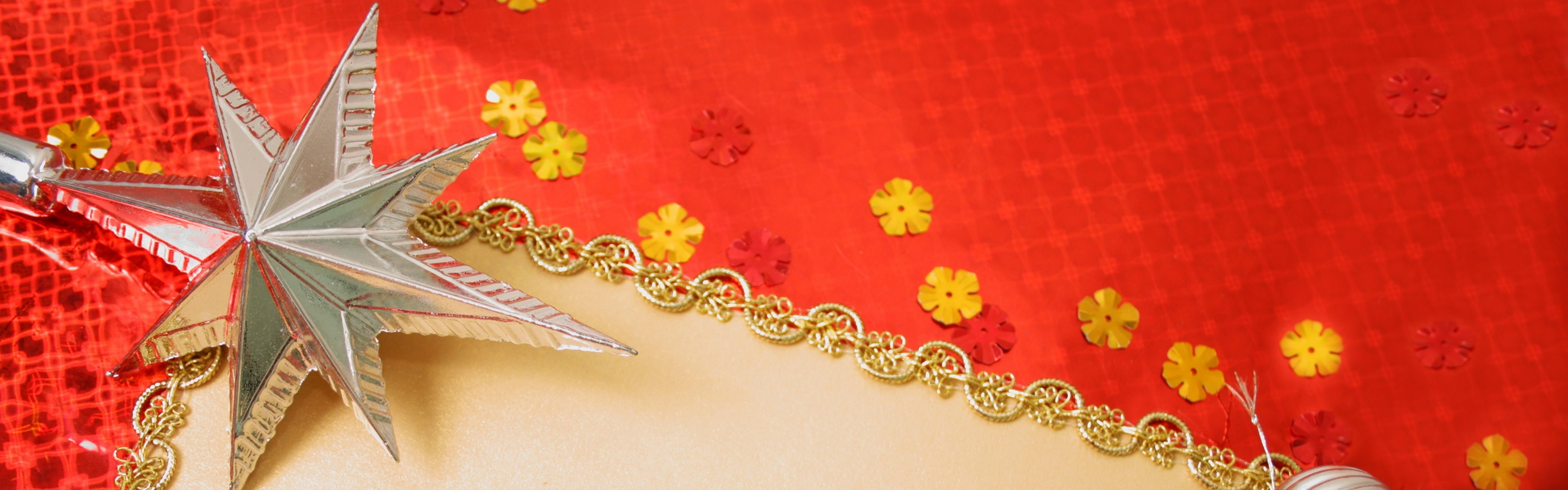 Preview wallpaper gold, red background, new year, toys 3840×1200