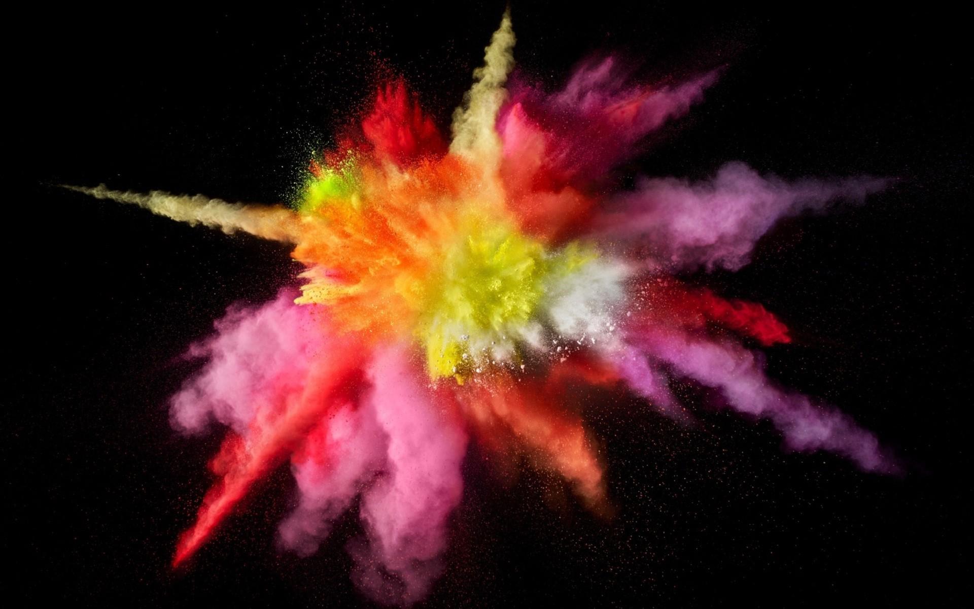 Colors splash on black screen wallpapers