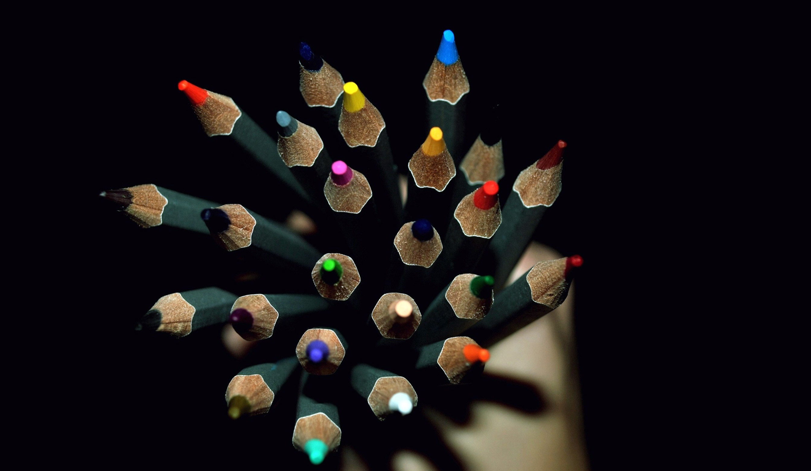 Multicolorpencils On The Black Screen Wallpapers HD / Desktop and Mobile  Backgrounds