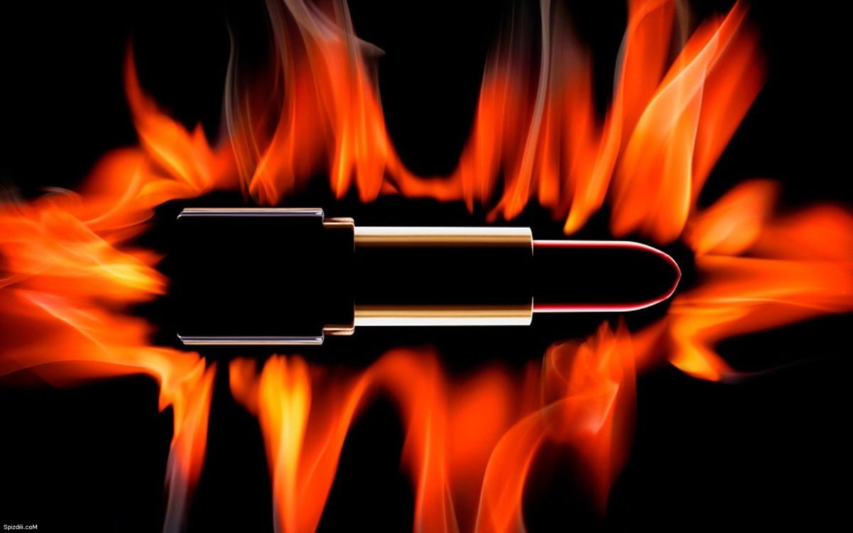 Black Background With Fire …