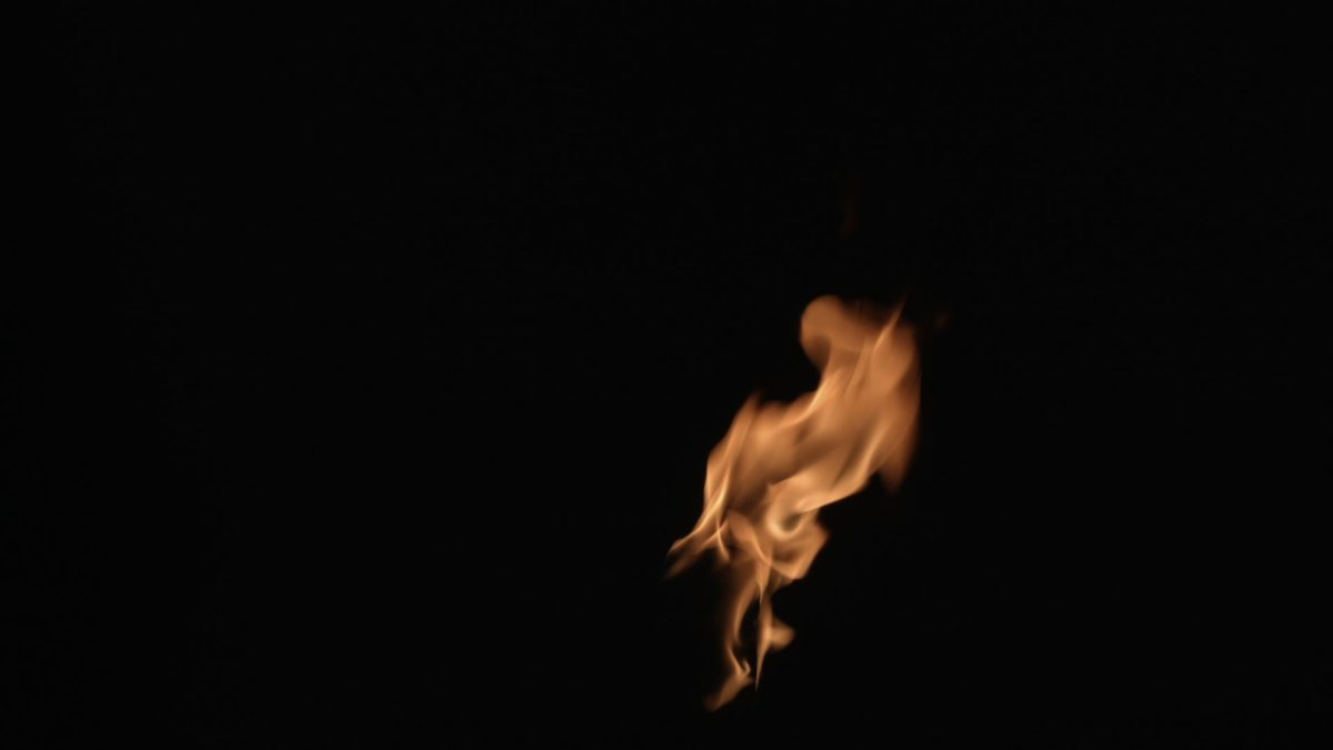 The flame element, shot at night in the garden to ensure a seamless black  background