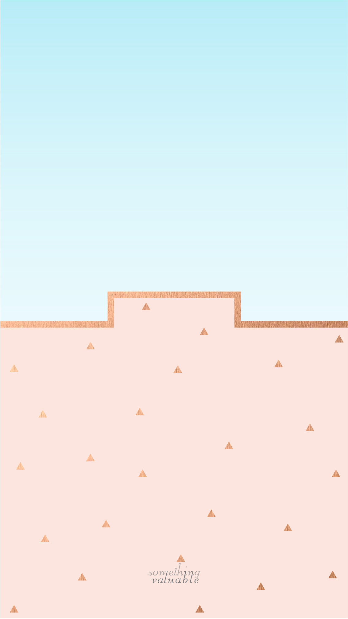 iPhone wallpaper design •ROSE GOLD WALL WITH THE BLUE SKY •