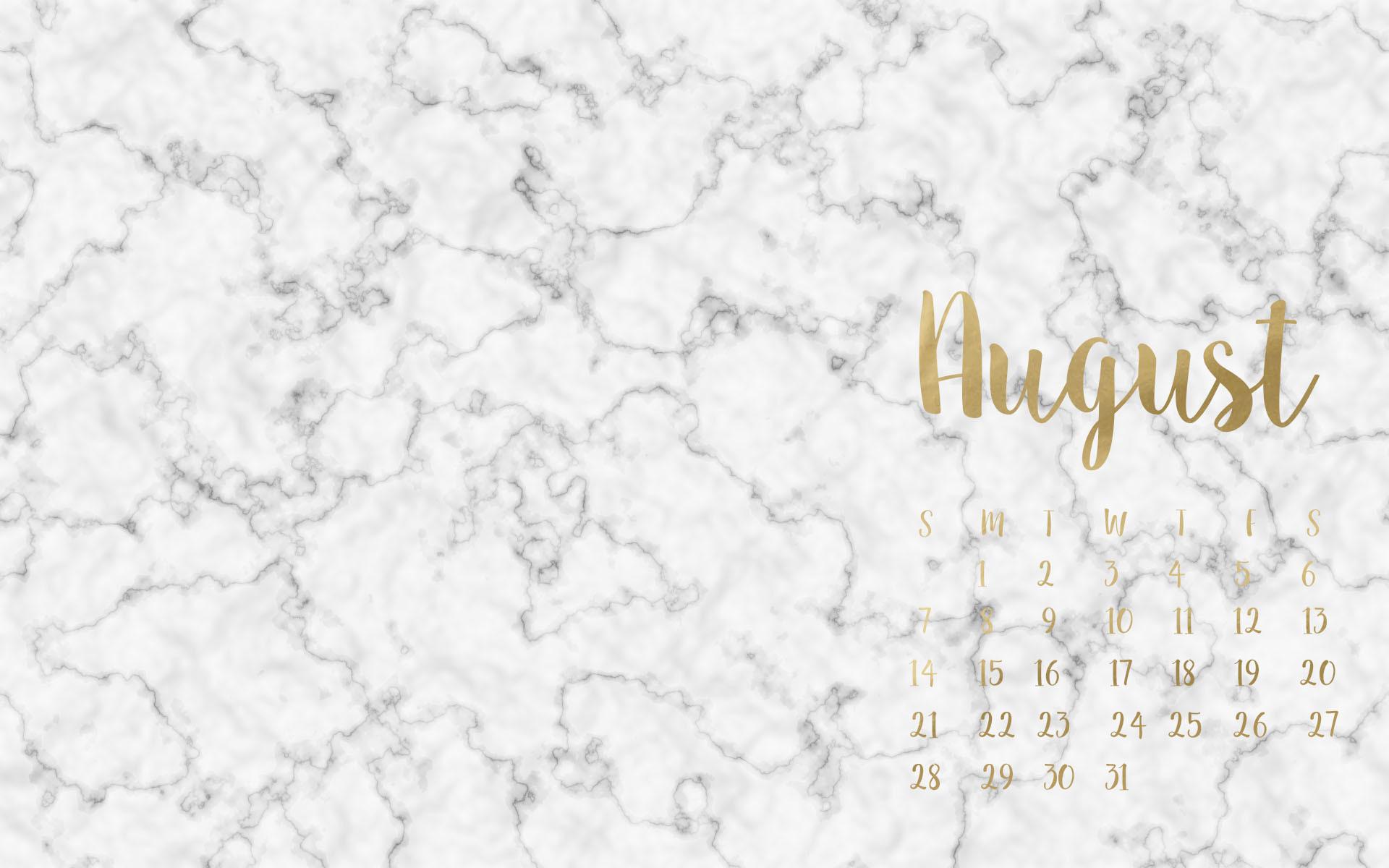 August Marble & Gold Calendar