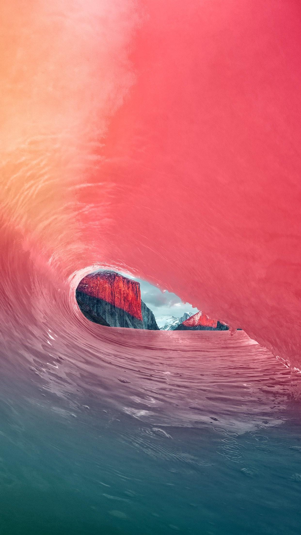 … apple osx yosemite wave red rainbow sea blue iphone 7 wallpaper …