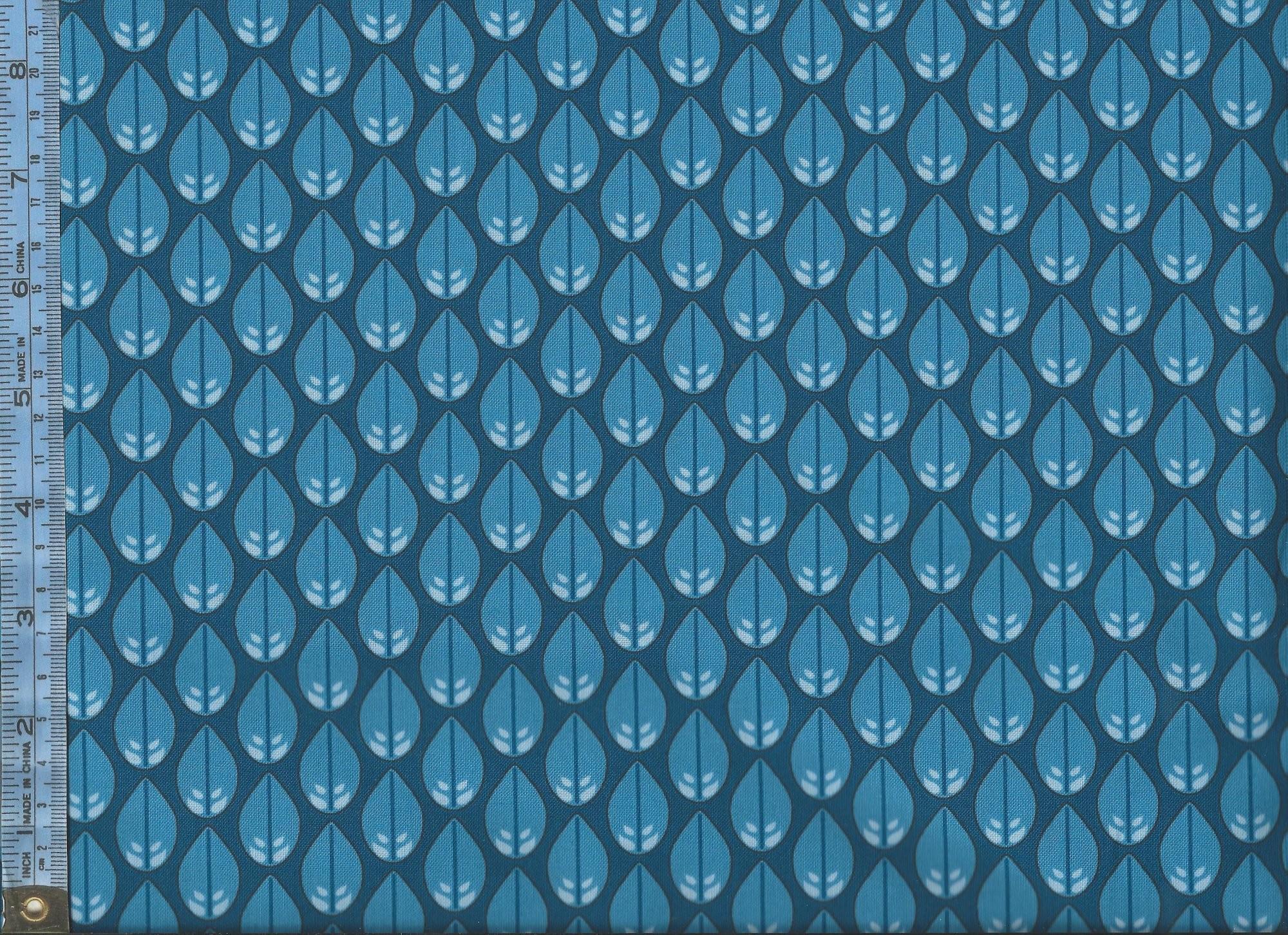 Cascade – blue leaf shapes on navy blue background
