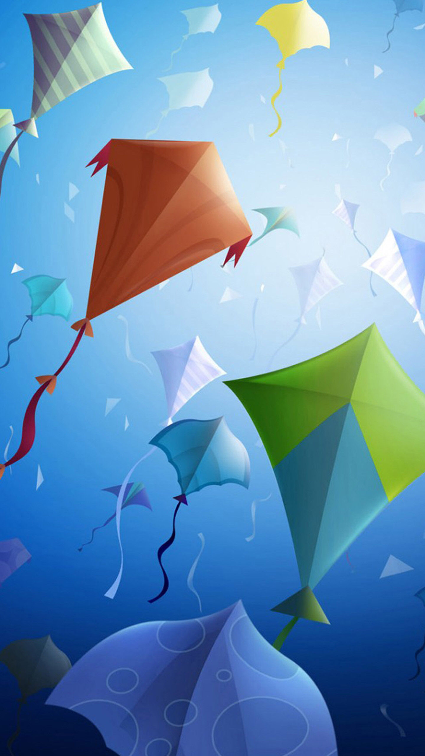 Blue, green, kites, light, abstract, apple, wallpaper, iPhone,
