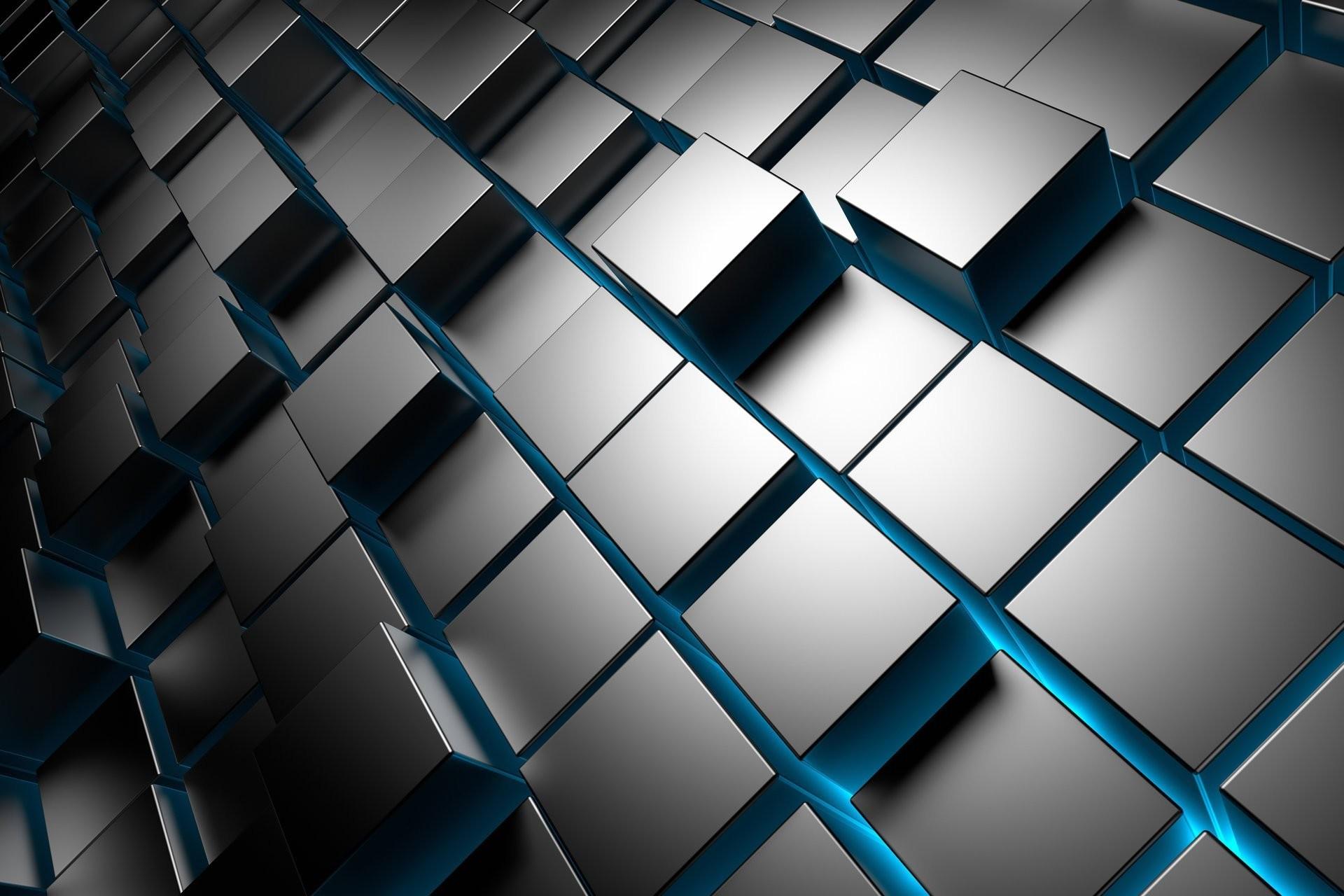 3d cubes metal chrome brick square cuba