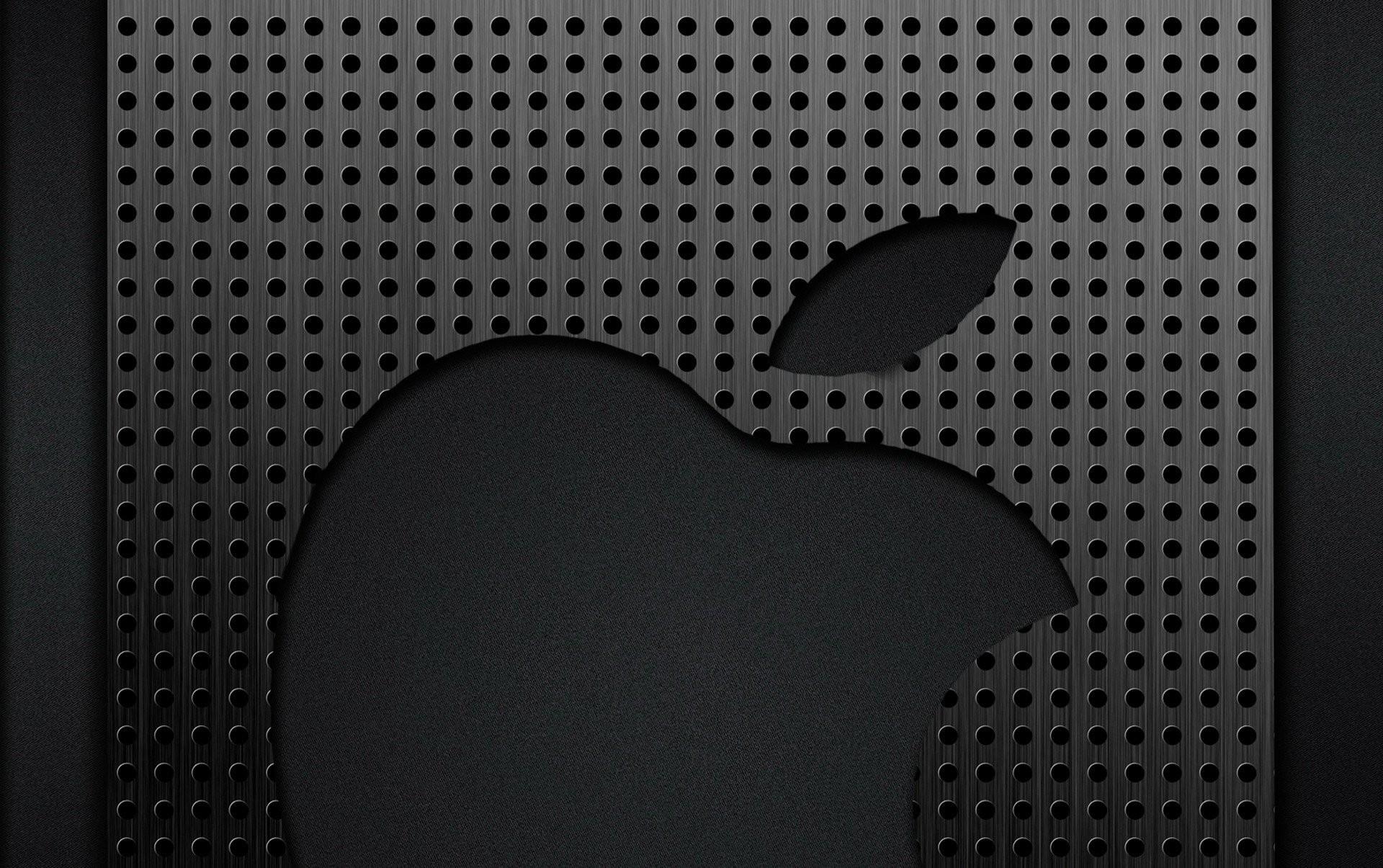 apple apple metal grey chrome logo grille cell holes