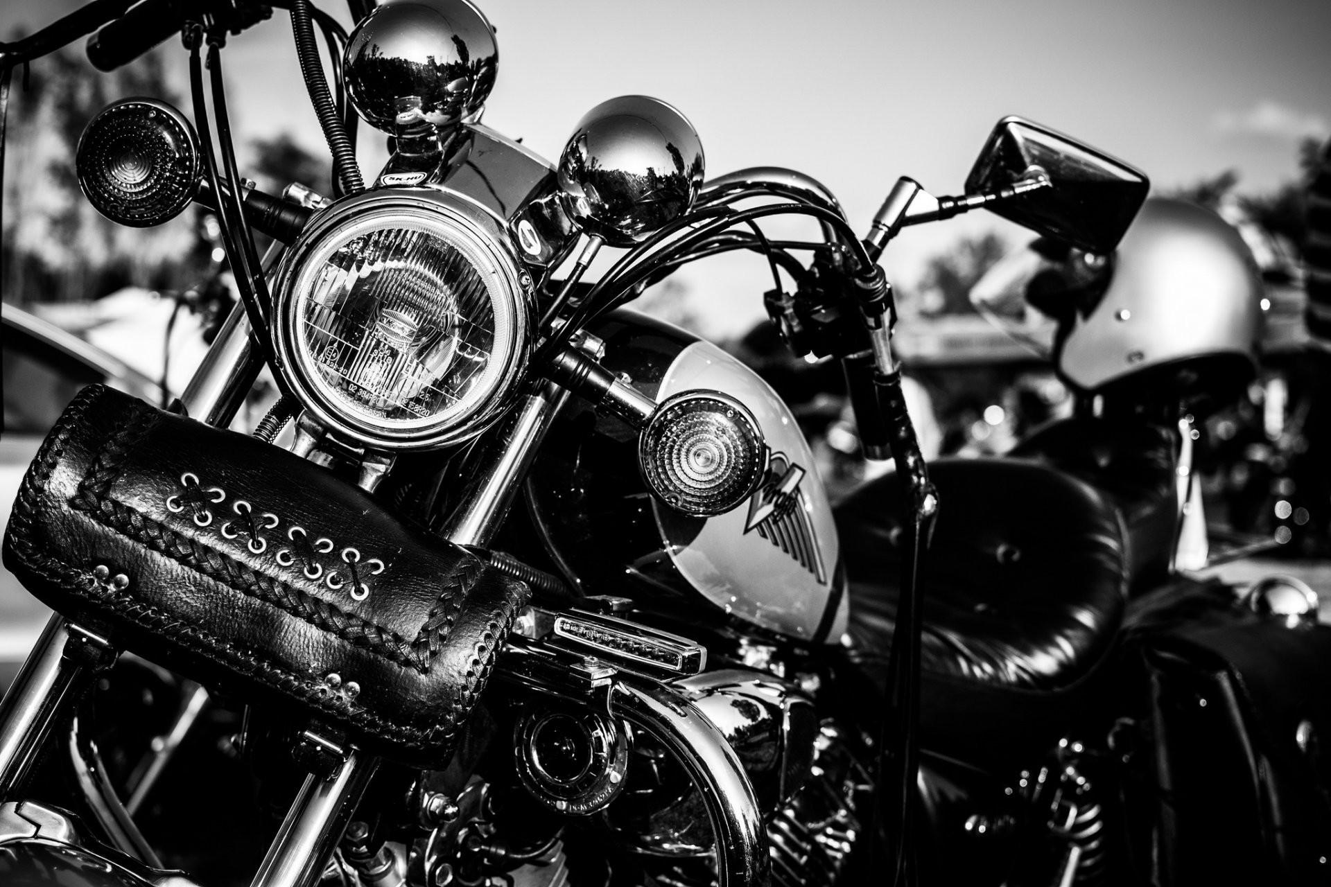 motorcycle leather handbag white and black lights metal chrome