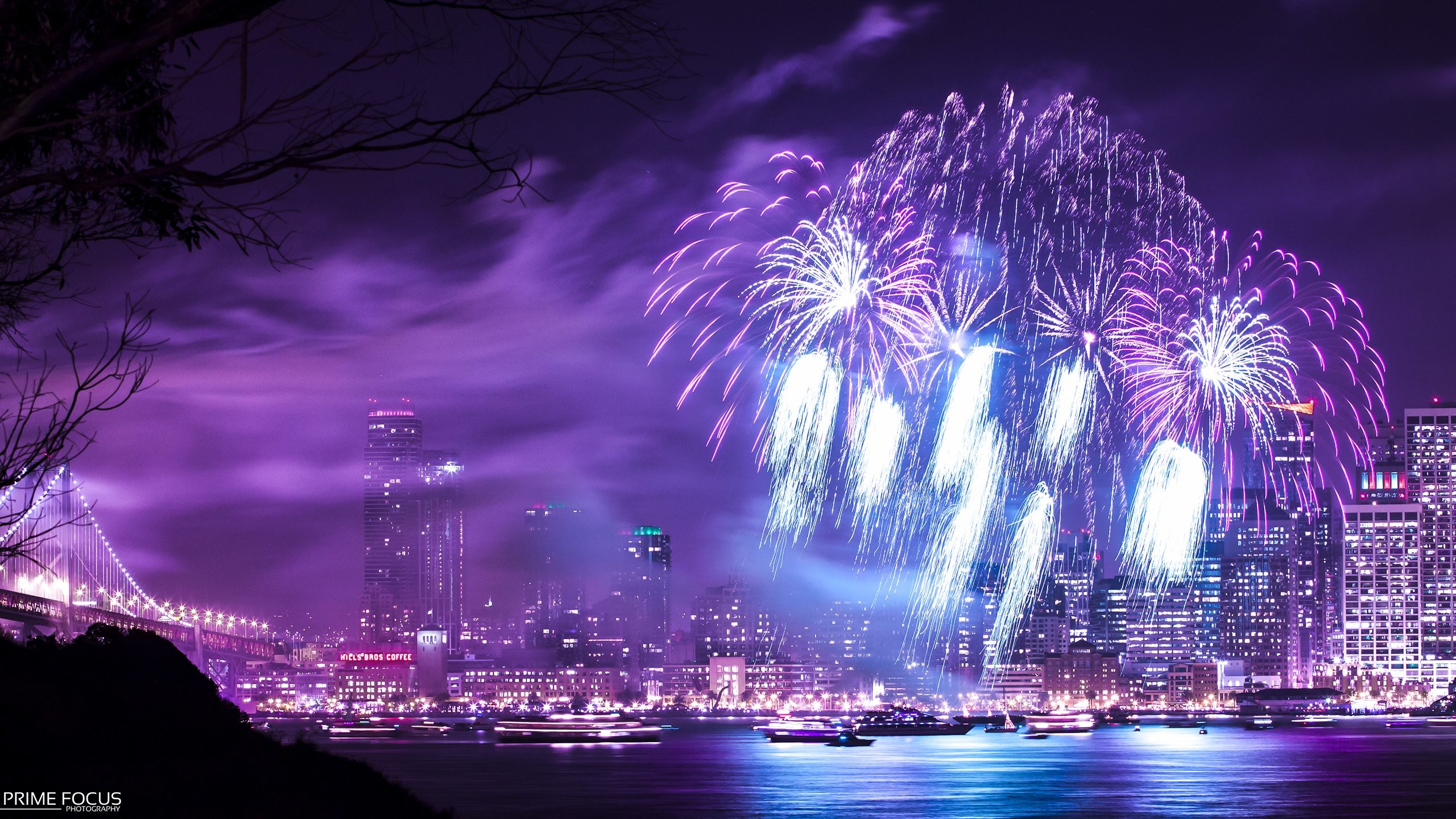 Purple Fireworks Background | Fireworks Night Purple Timelapse Buildings  Skyscrapers wallpaper .