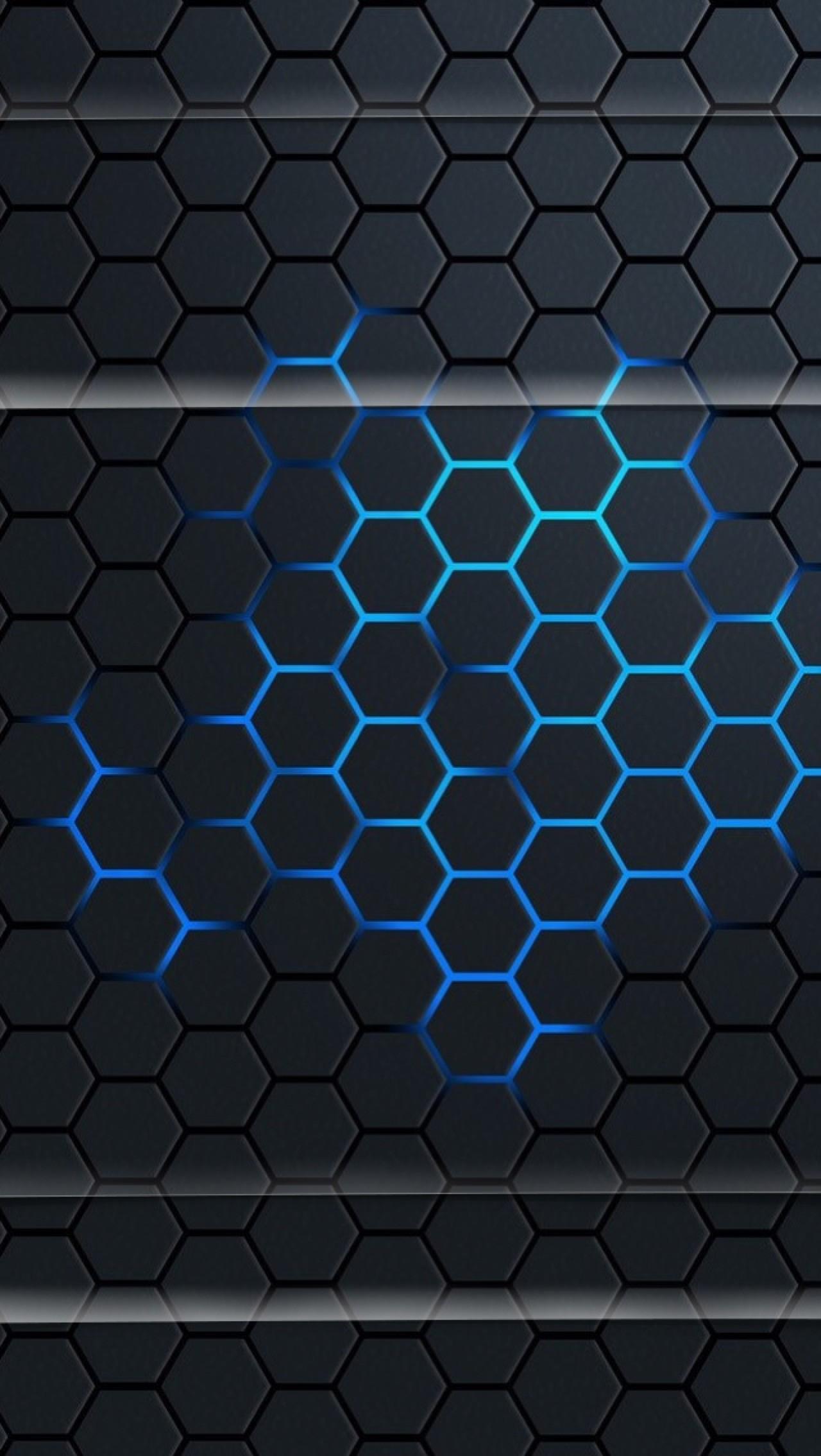 Lockscreens Grid Black Blue Art Creative HD